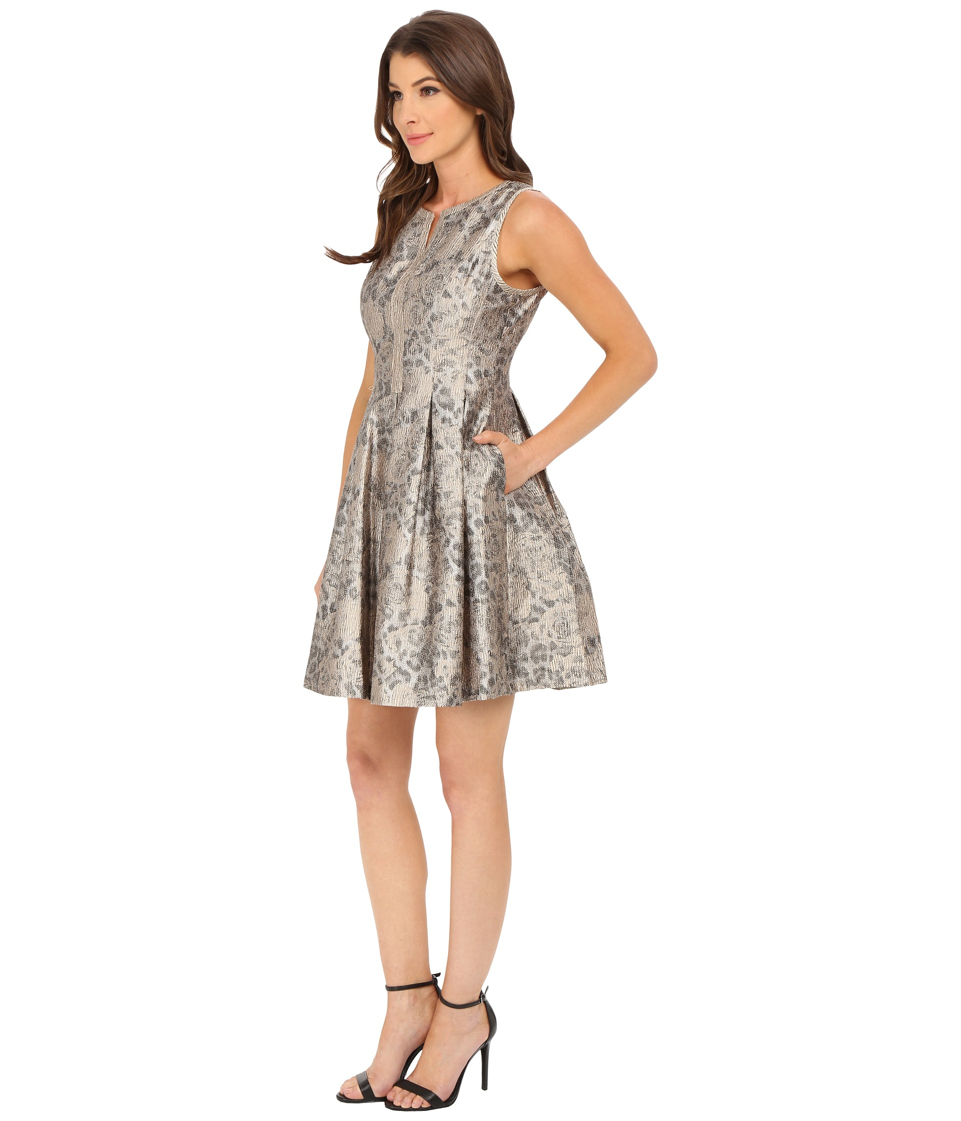 Lyst Vince Camuto Split Neck Fit And Flare Dress In Metallic