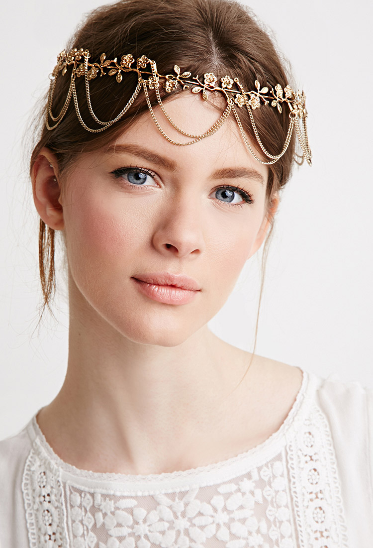 Lyst forever 21 draped chains flower head crown in metallic gallery izmirmasajfo