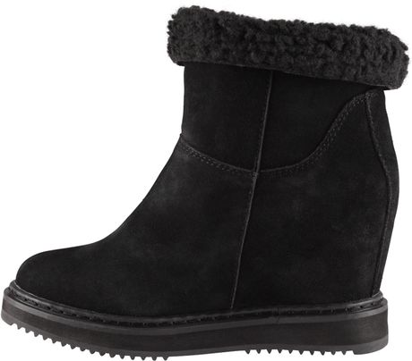aldo lenice toe wedge boots in black black suede