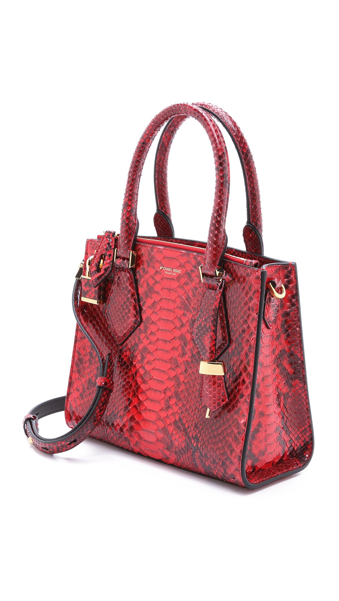 12258687236 ... Michael kors Python Casey Satchel - Crimson in Red Lyst Michael Kors  Large Camden Drawstring Leather Shoulder Bag ...