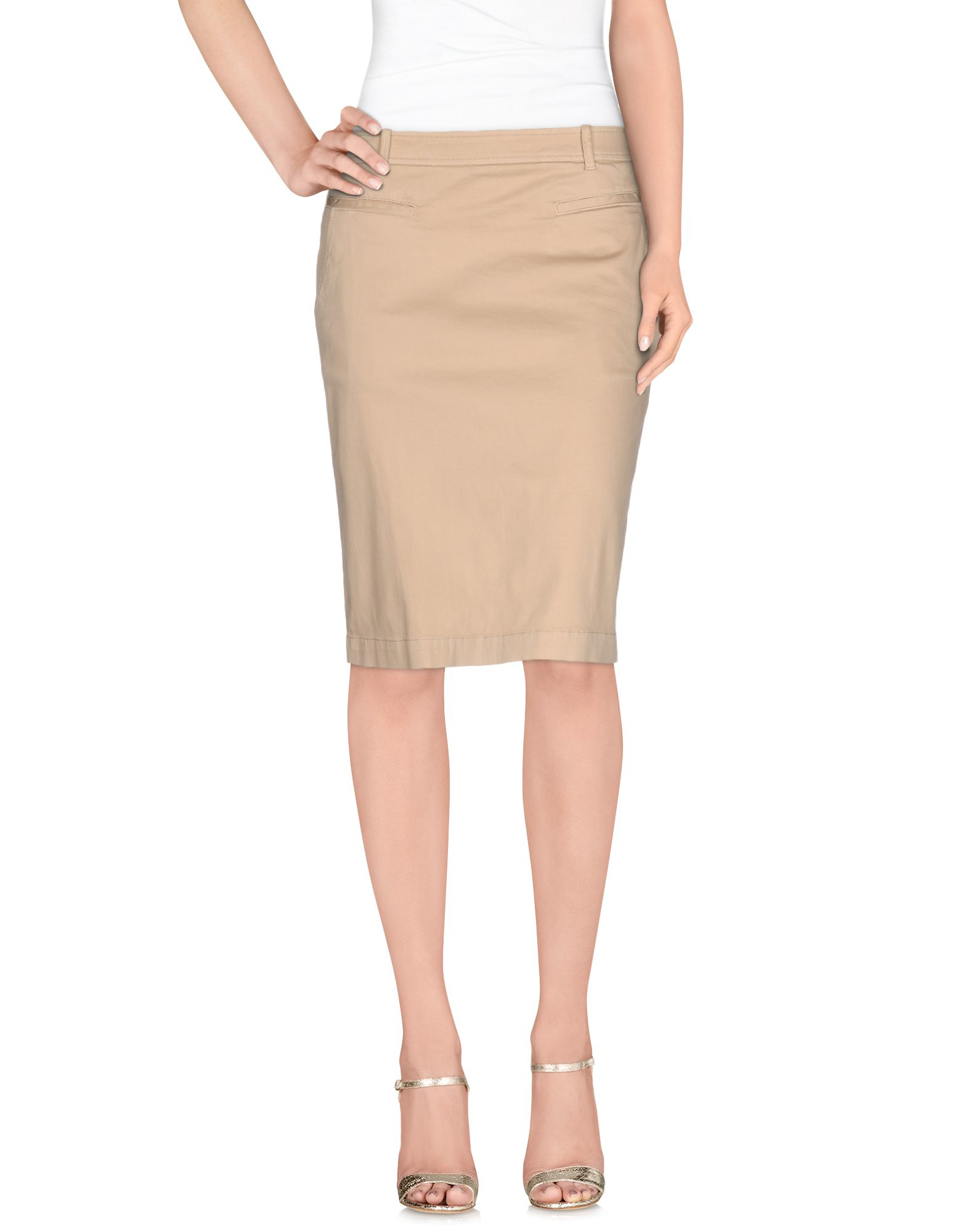 henry cotton s knee length skirt in beige save 64 lyst