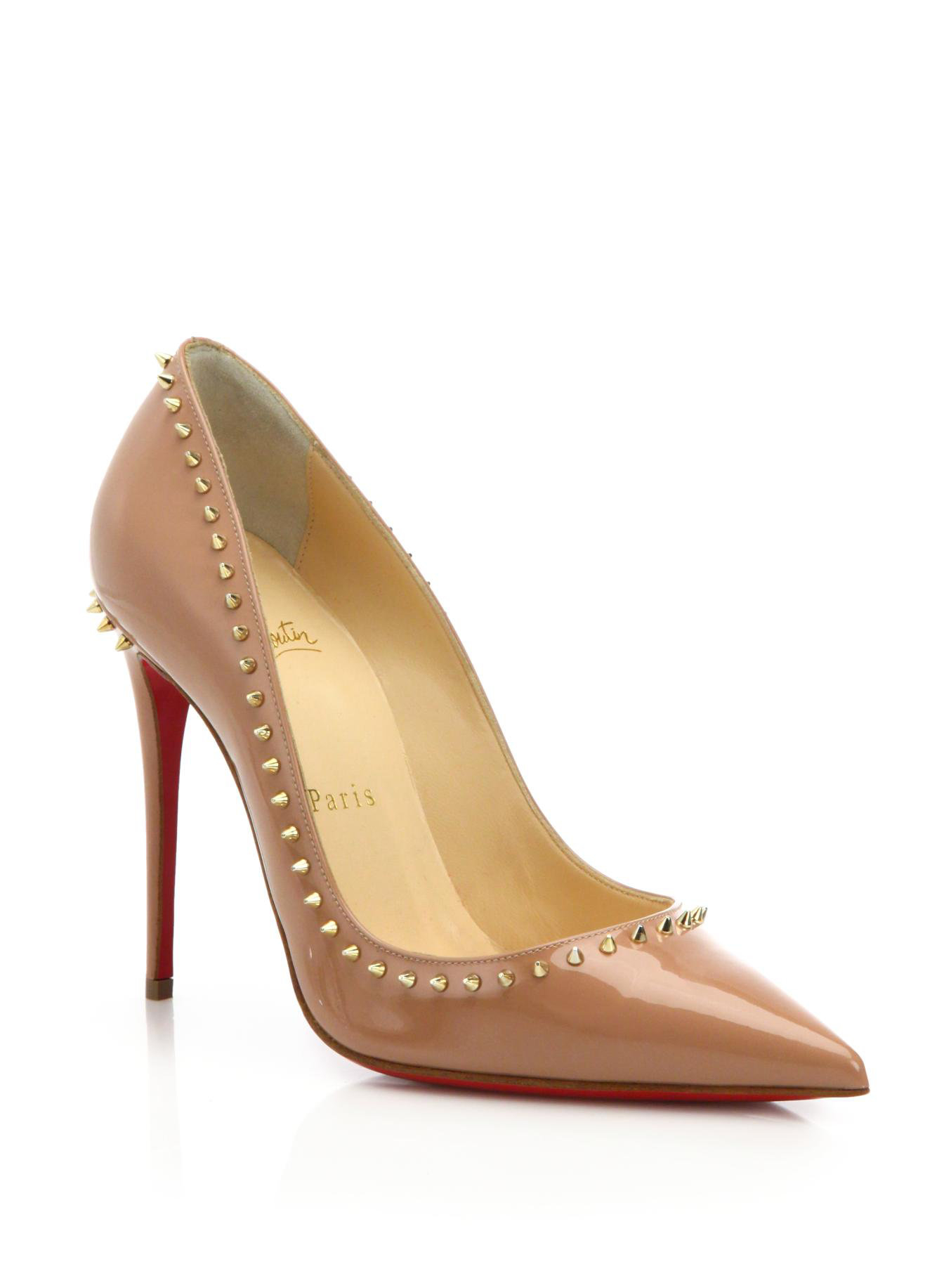 christian louboutin patent leather spike embellished pumps