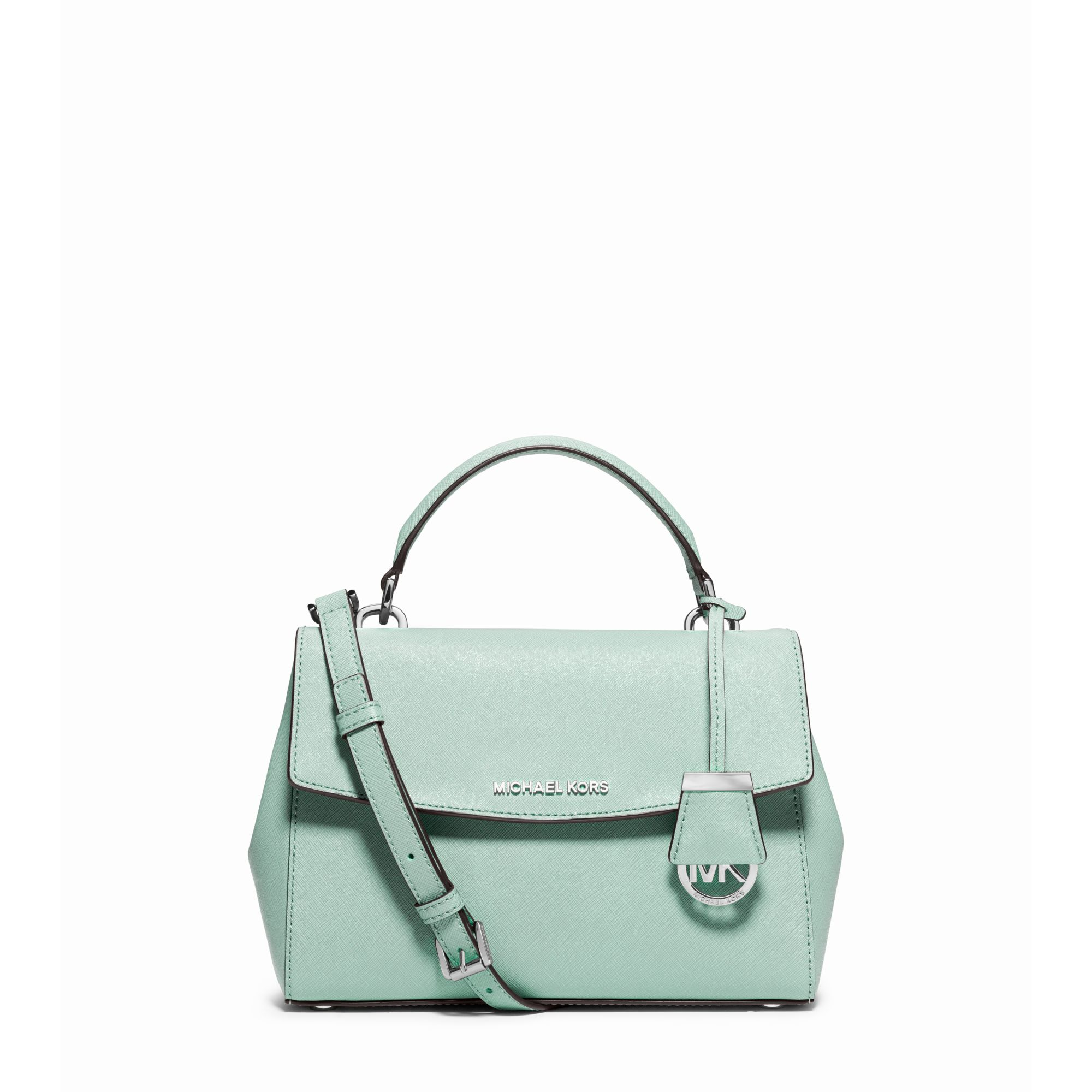 d18773c3e94e ... shopping lyst michael kors ava small saffiano leather satchel in green  521b2 ac949