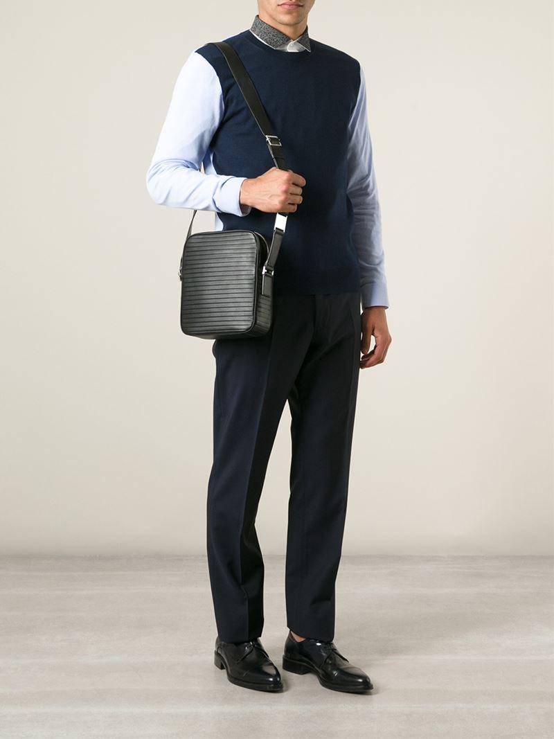 a993ea6902eb Dior Homme Ribbed Effect Messenger Bag in Black for Men - Lyst
