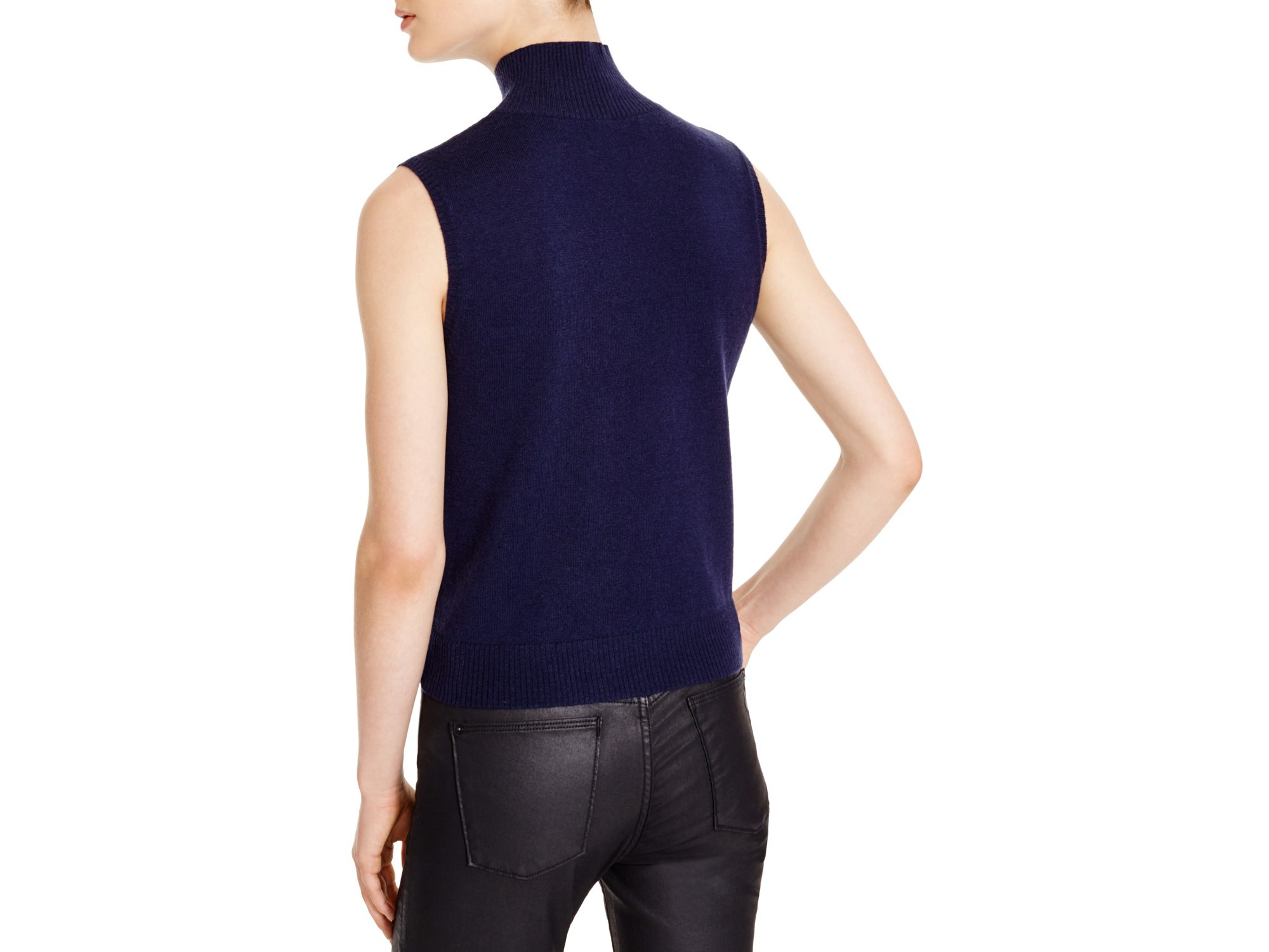 Timo weiland Sleeveless Turtleneck Sweater in Blue | Lyst