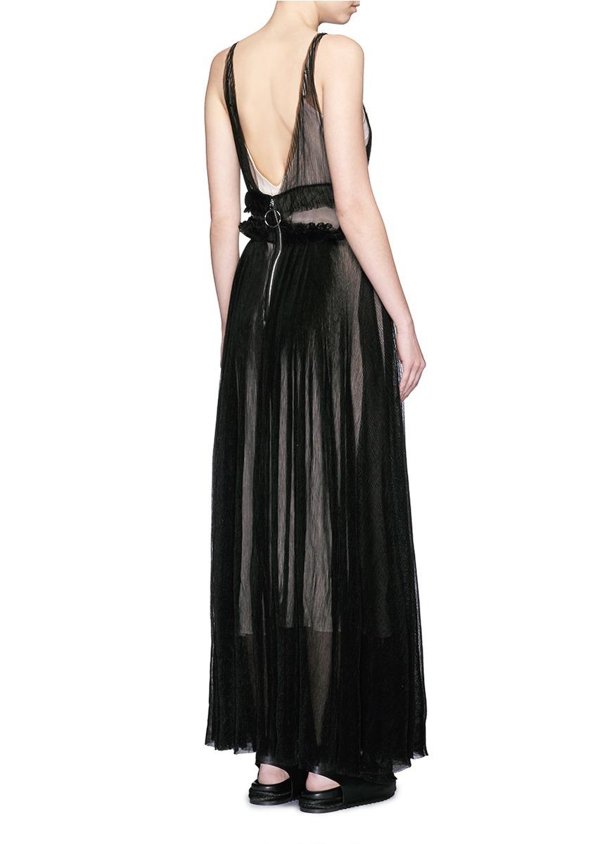 Lyst Nicopanda Pleat Tulle Maxi Dress In Black