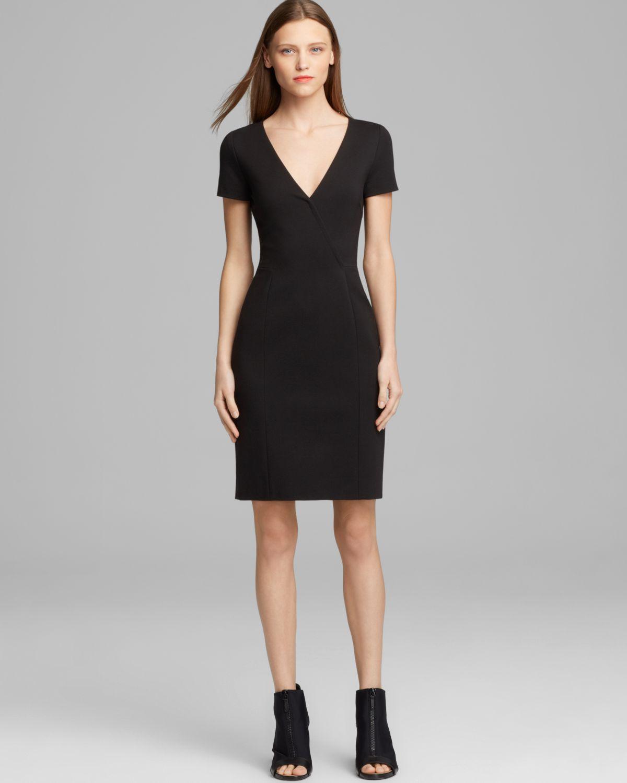 Dkny V Neck Sheath Dress in Black | Lyst