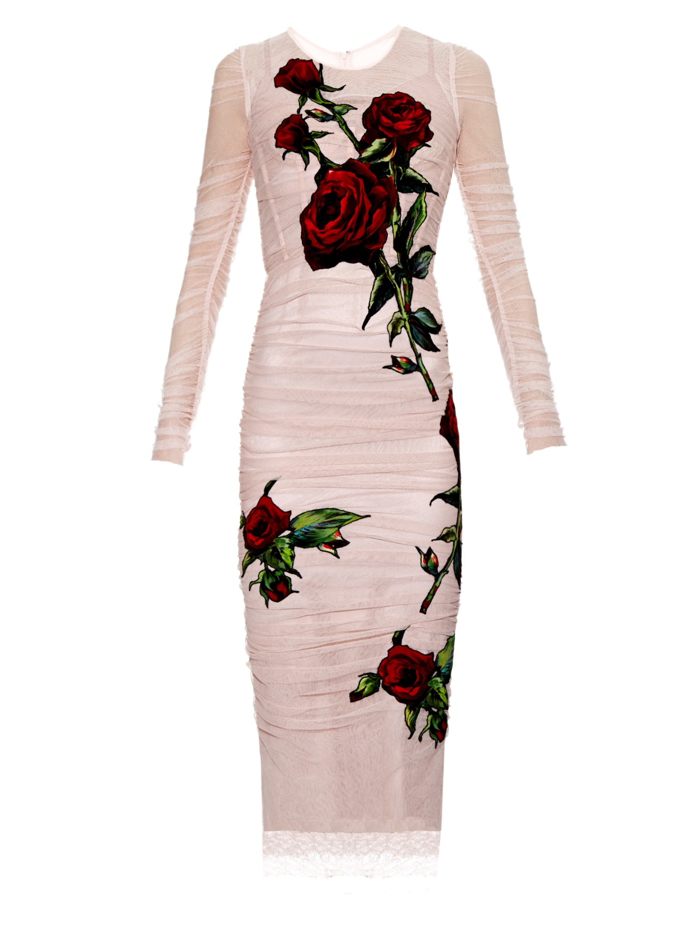39349bfa03c Dolce & Gabbana Rose-embroidered Tulle Dress in Pink - Lyst