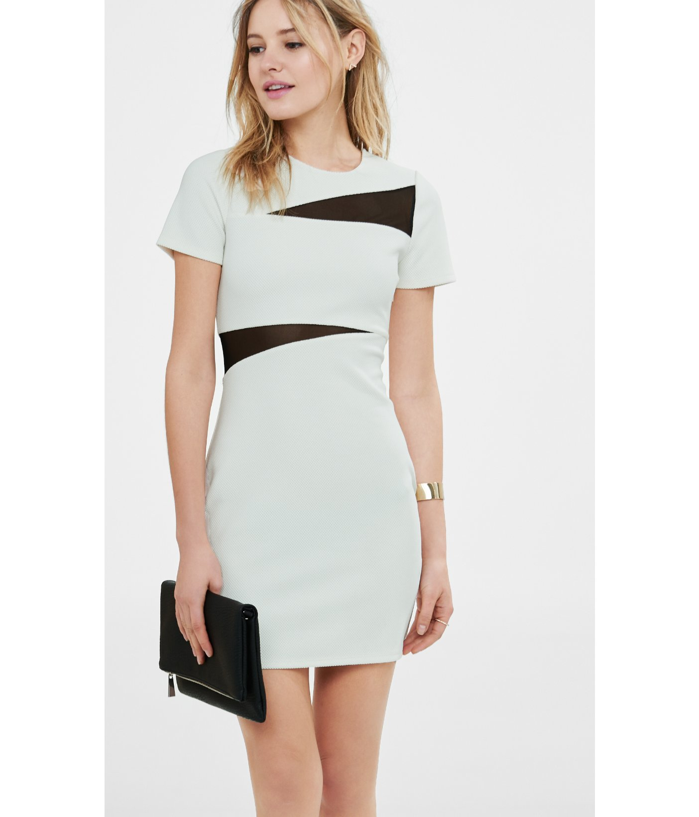 61907dfd Express Ivory Mesh Inset Jacquard Sheath Dress in Black - Lyst