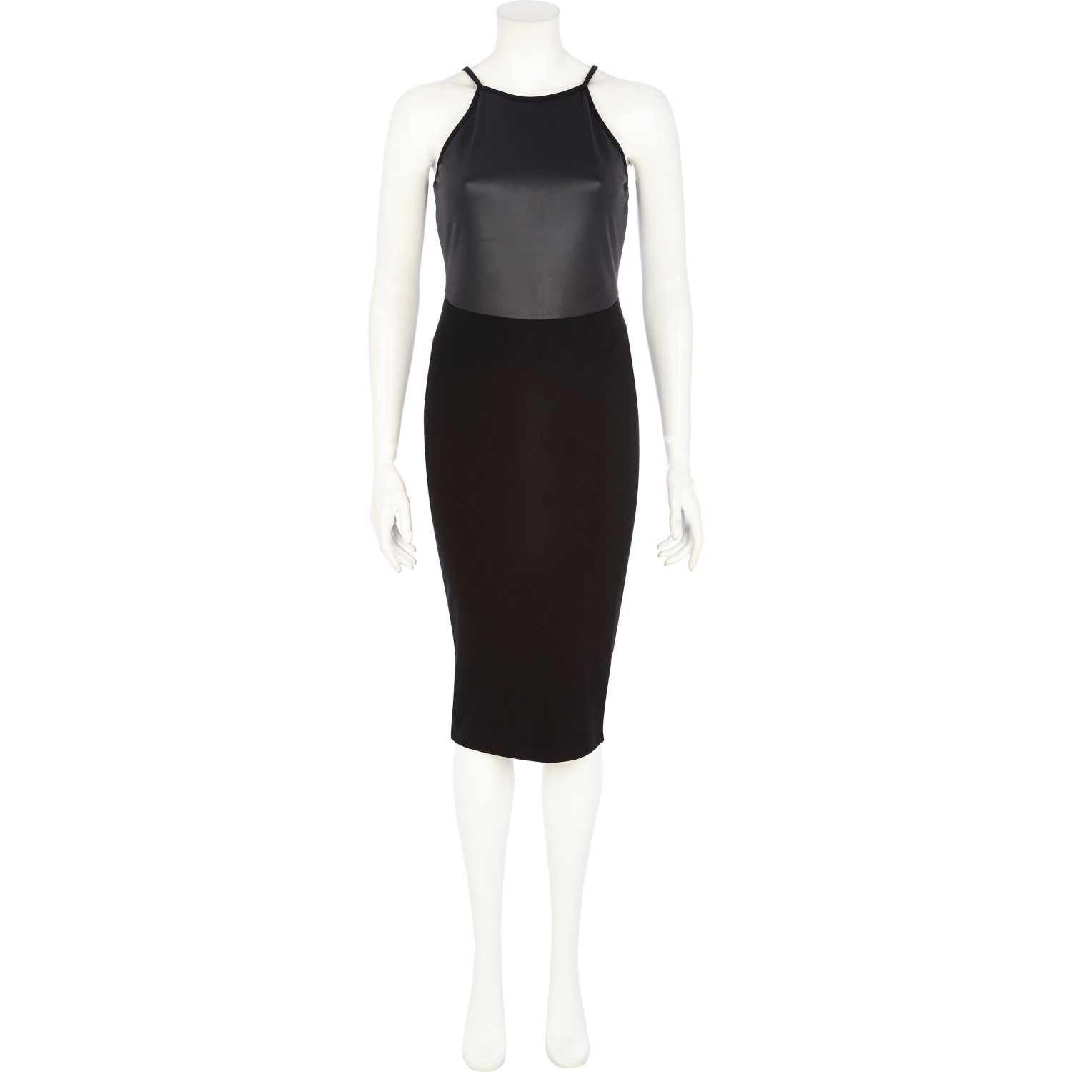 a14c334ec972b River Island Black Leather-Look Panel Racer Front Dress in Black - Lyst