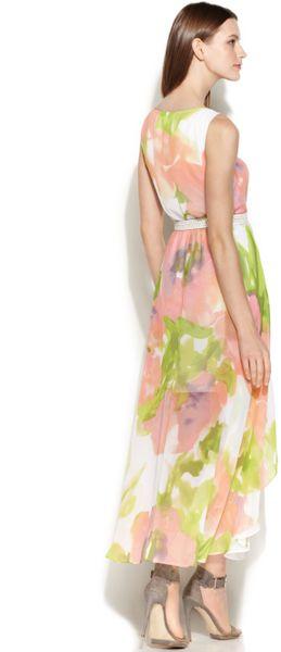 Calvin Klein Floralprint Chiffon Maxi Dress In Green