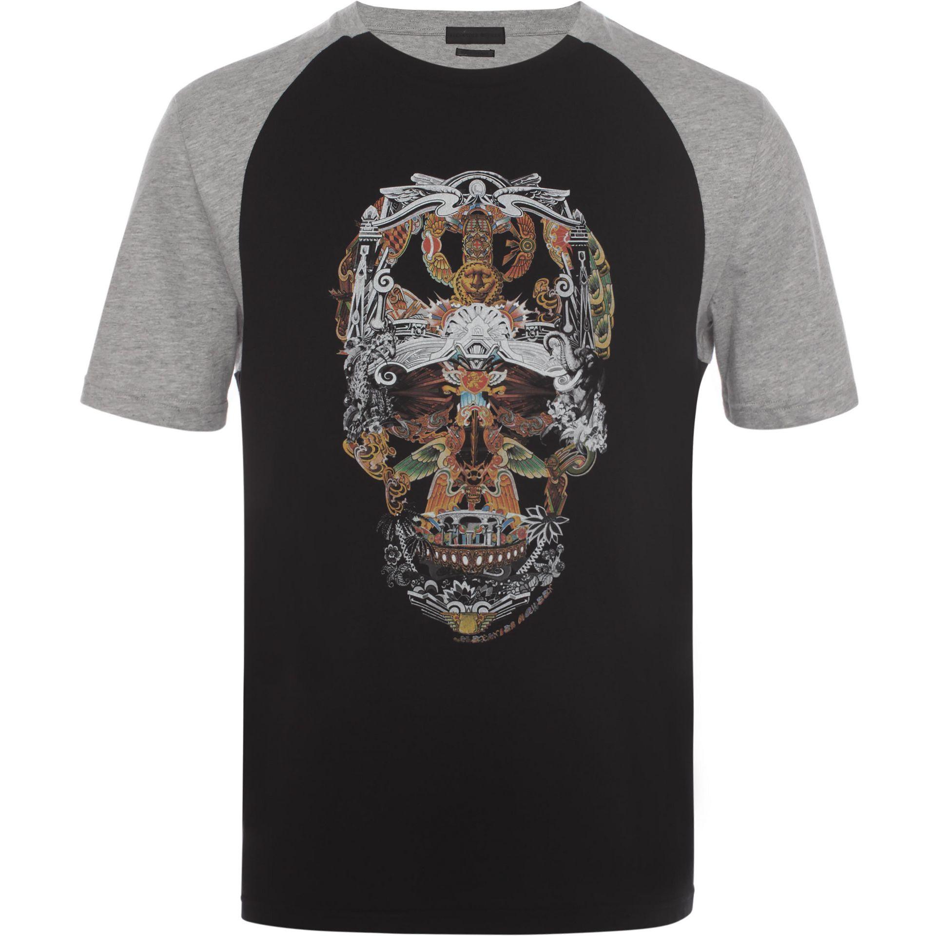 9f692d50 Alexander McQueen Raglan Skull T-shirt in Black for Men - Lyst