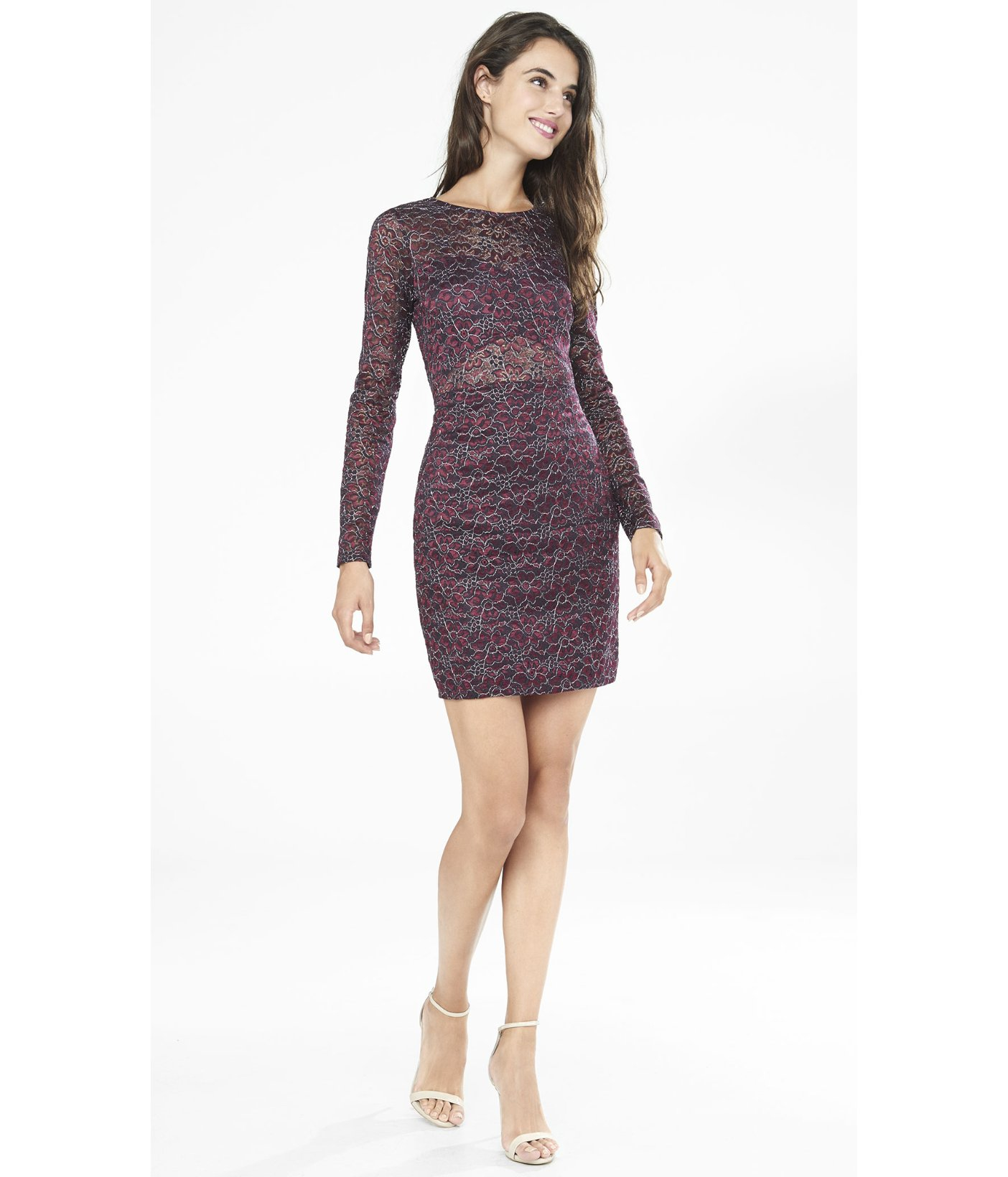 c19a1beb1e0 Dark Purple Lace Dress With Sleeves