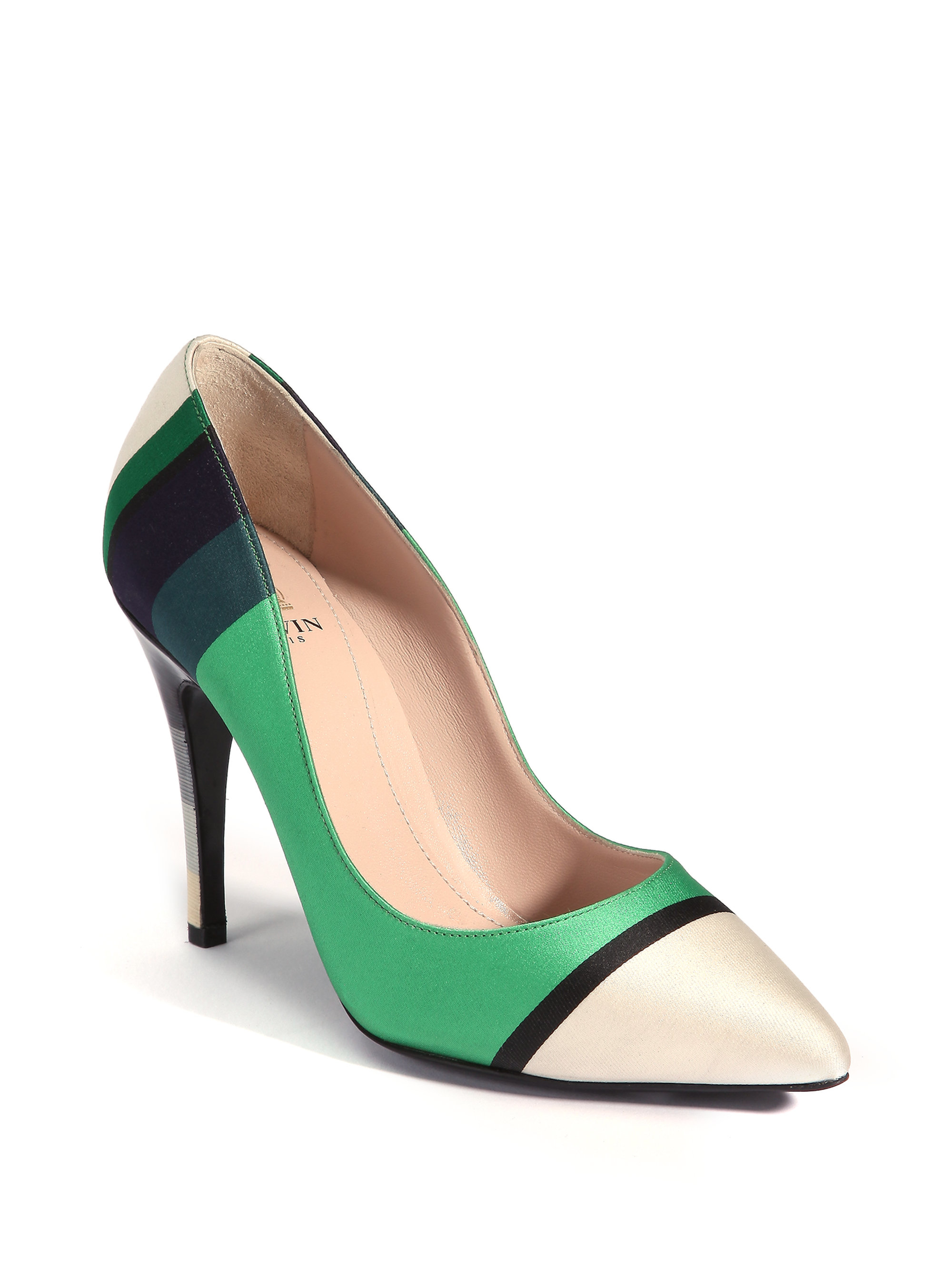 a06afaf69c6 Lyst - Lanvin Striped Point-toe Pumps in Green