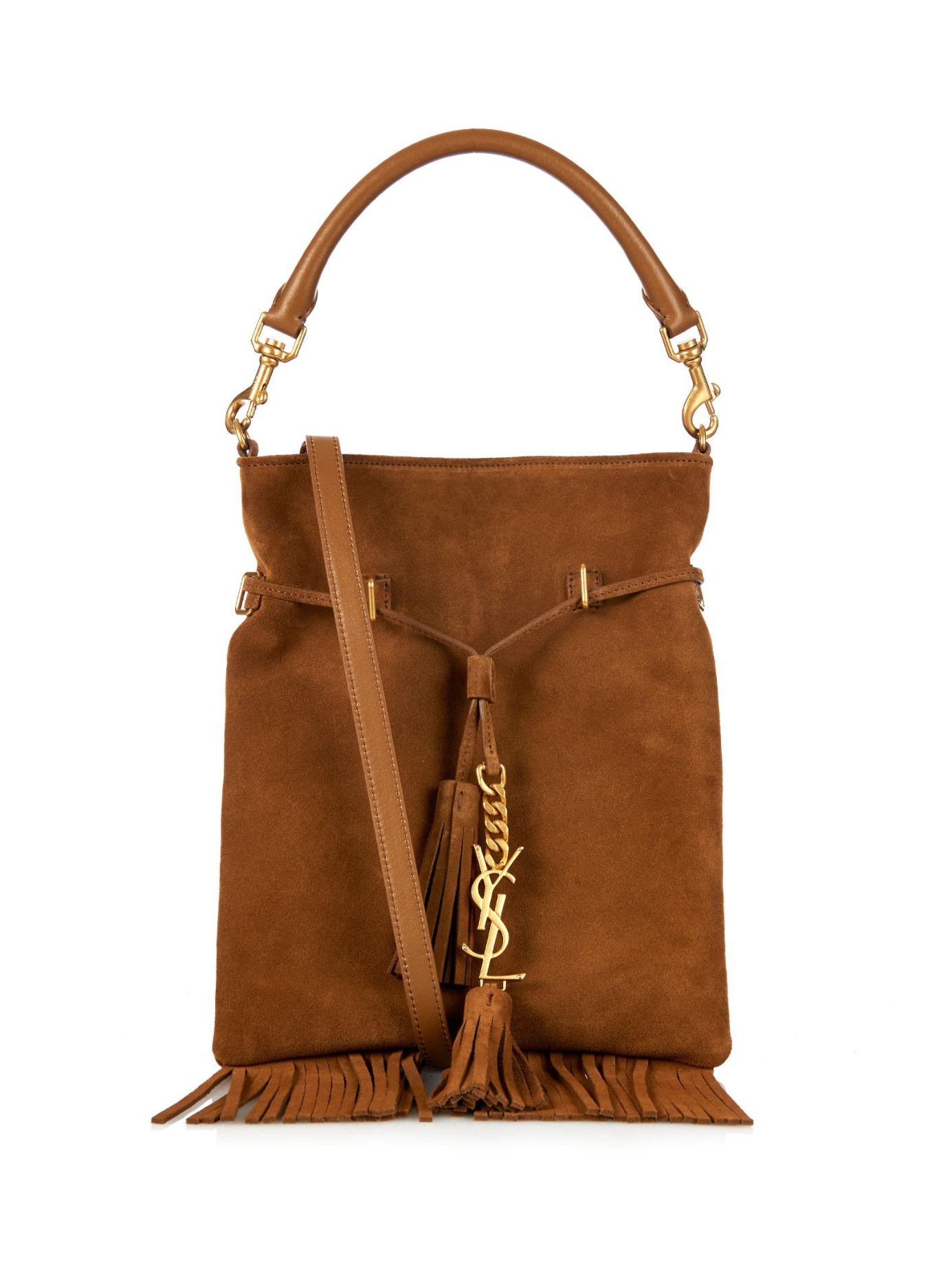 saint laurent monogram fringe suede bucket bag in brown lyst. Black Bedroom Furniture Sets. Home Design Ideas