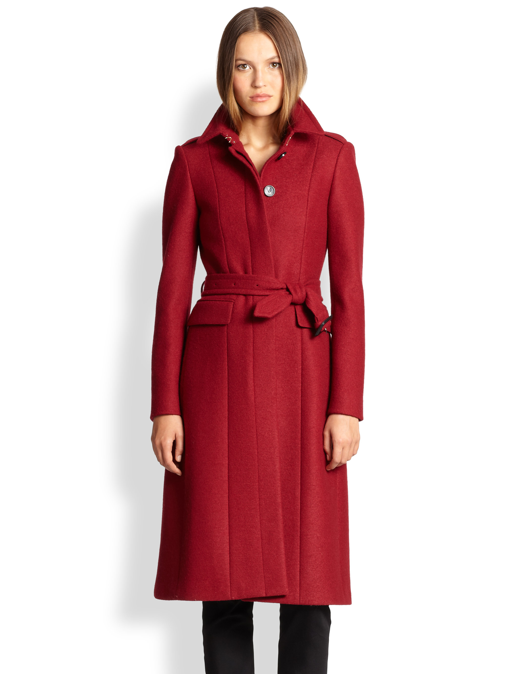 Burberry Sunderwood Compact Virgin Wool Military Coat in Red | Lyst