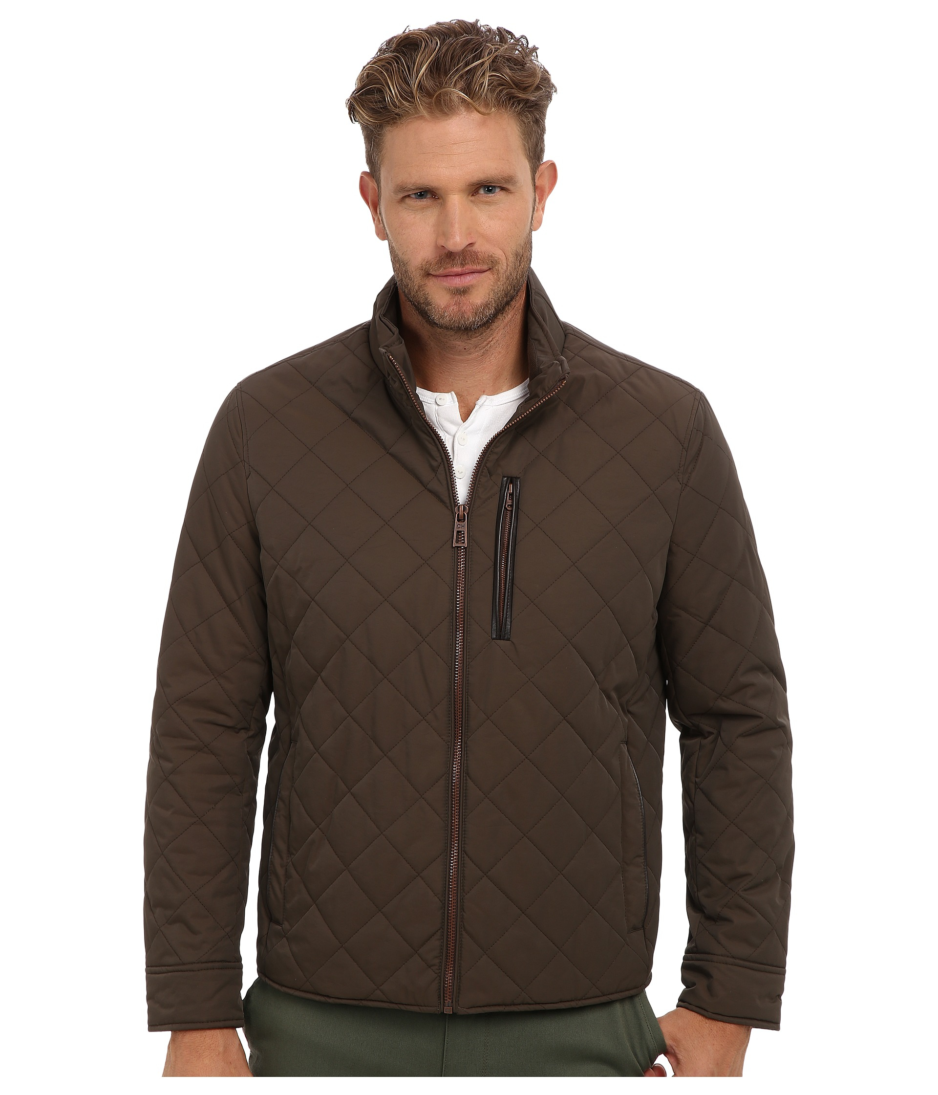 Lyst - Cole haan Quilted Nylon Jacket in Brown for Men : mens brown quilted jacket - Adamdwight.com