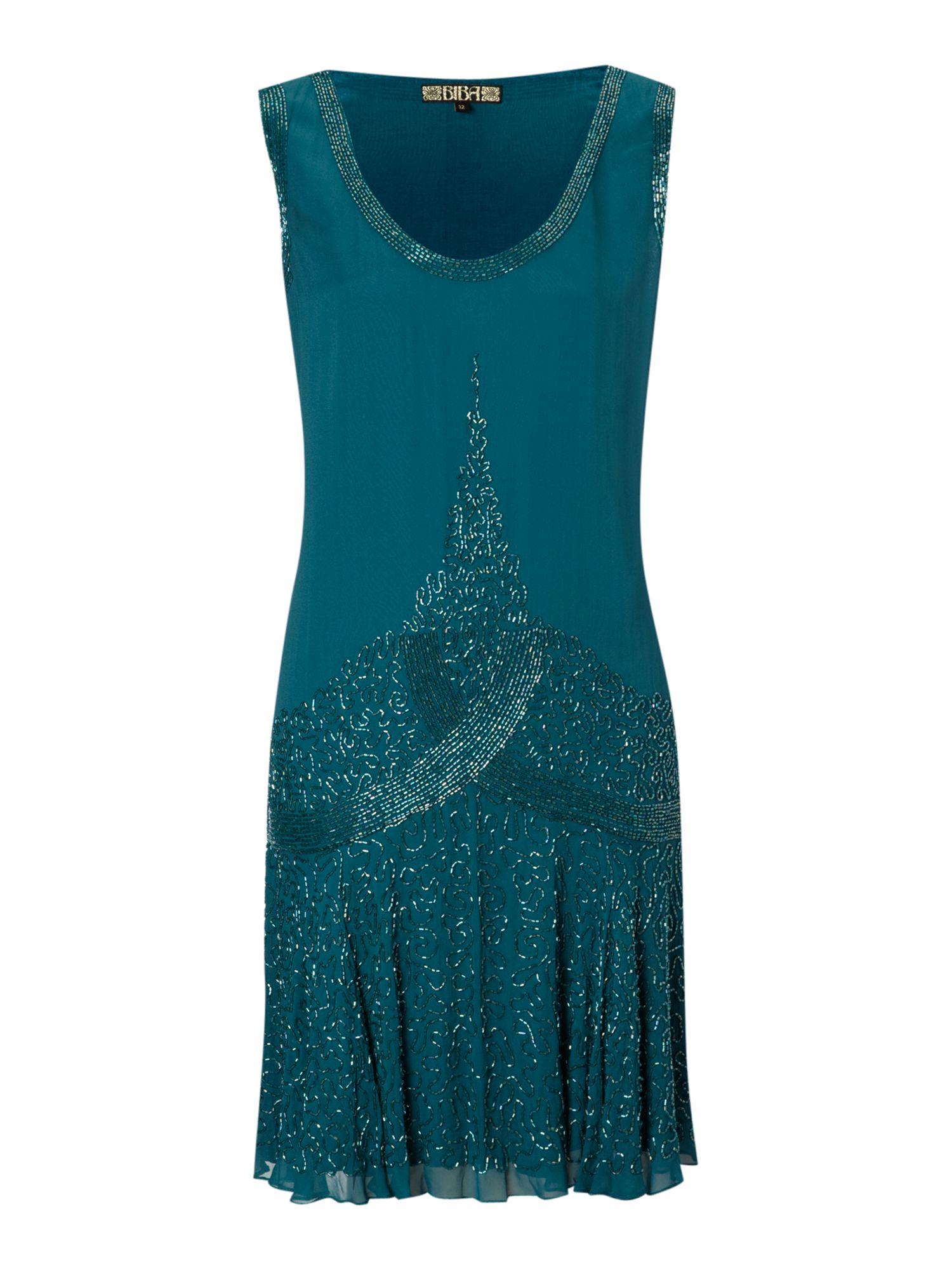 biba beaded flapper dress in blue teal lyst