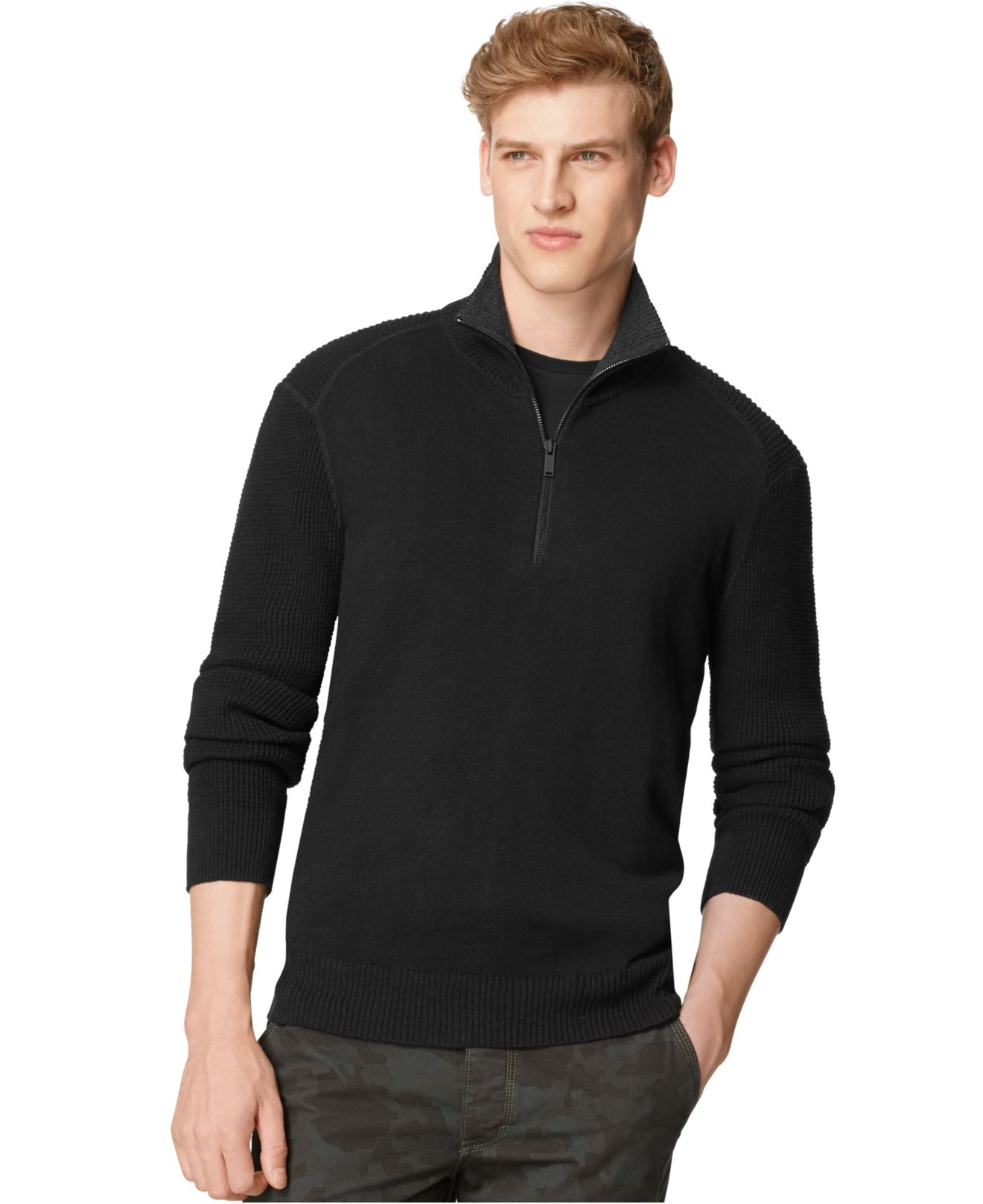 lyst calvin klein jeans textured zip sweater in blue for men. Black Bedroom Furniture Sets. Home Design Ideas