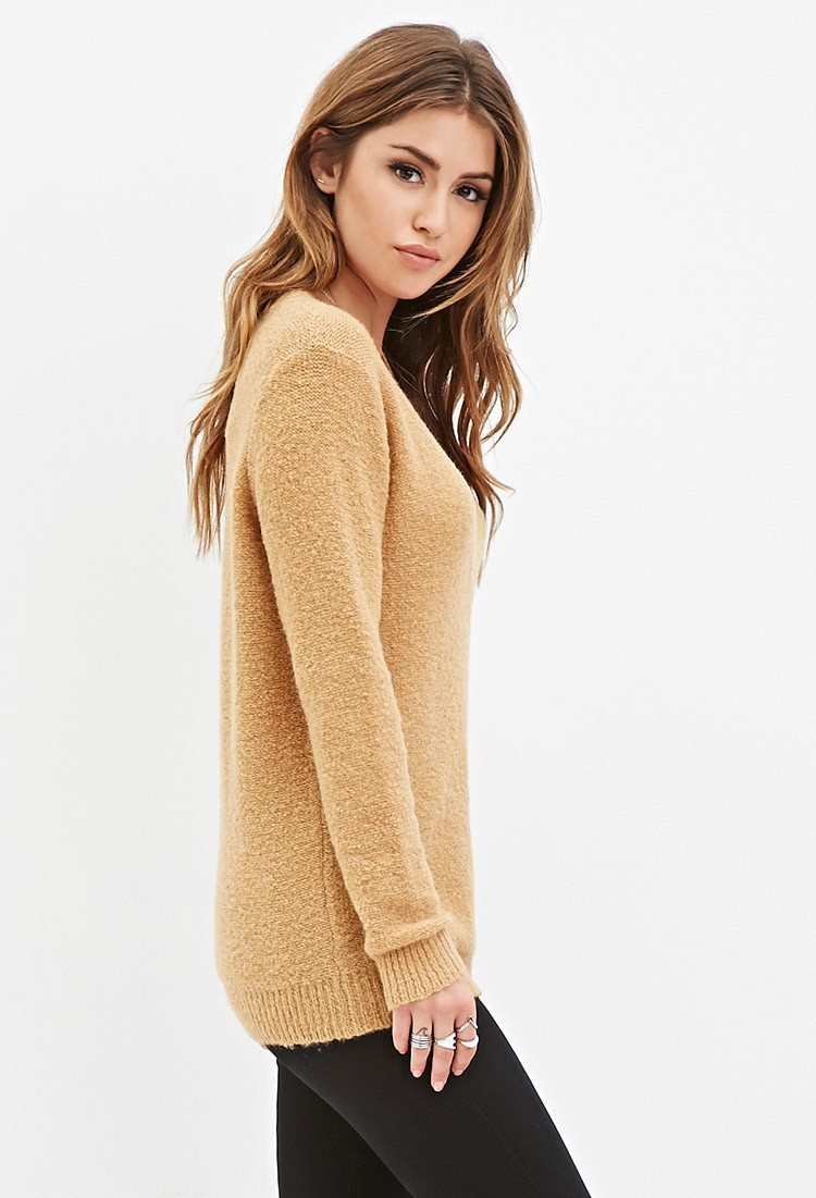 Forever 21 V-neck Longline Sweater in Brown | Lyst
