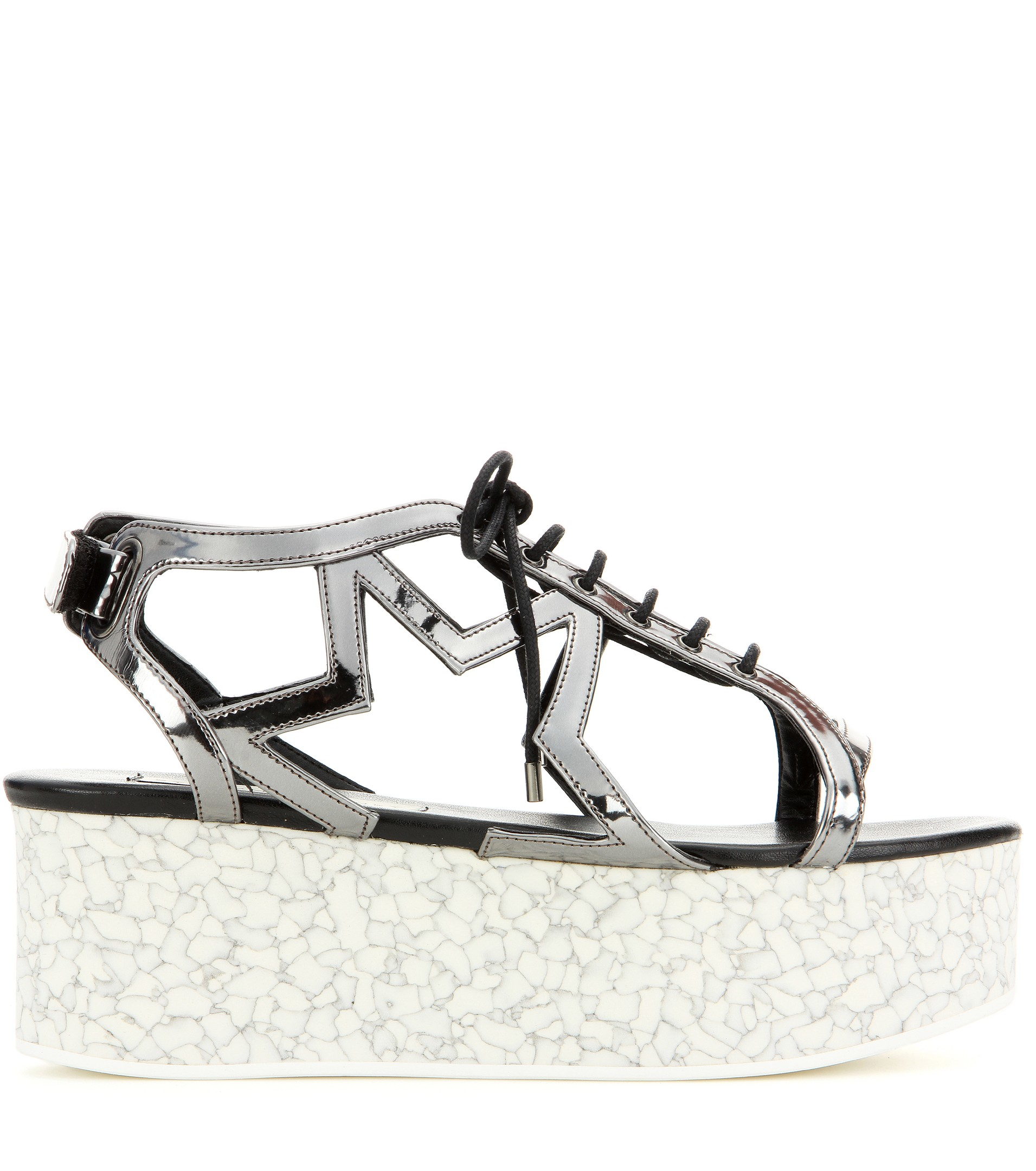 6c11892ee503 Lyst - Stella McCartney Metallic Faux Leather Platform Sandals in ...