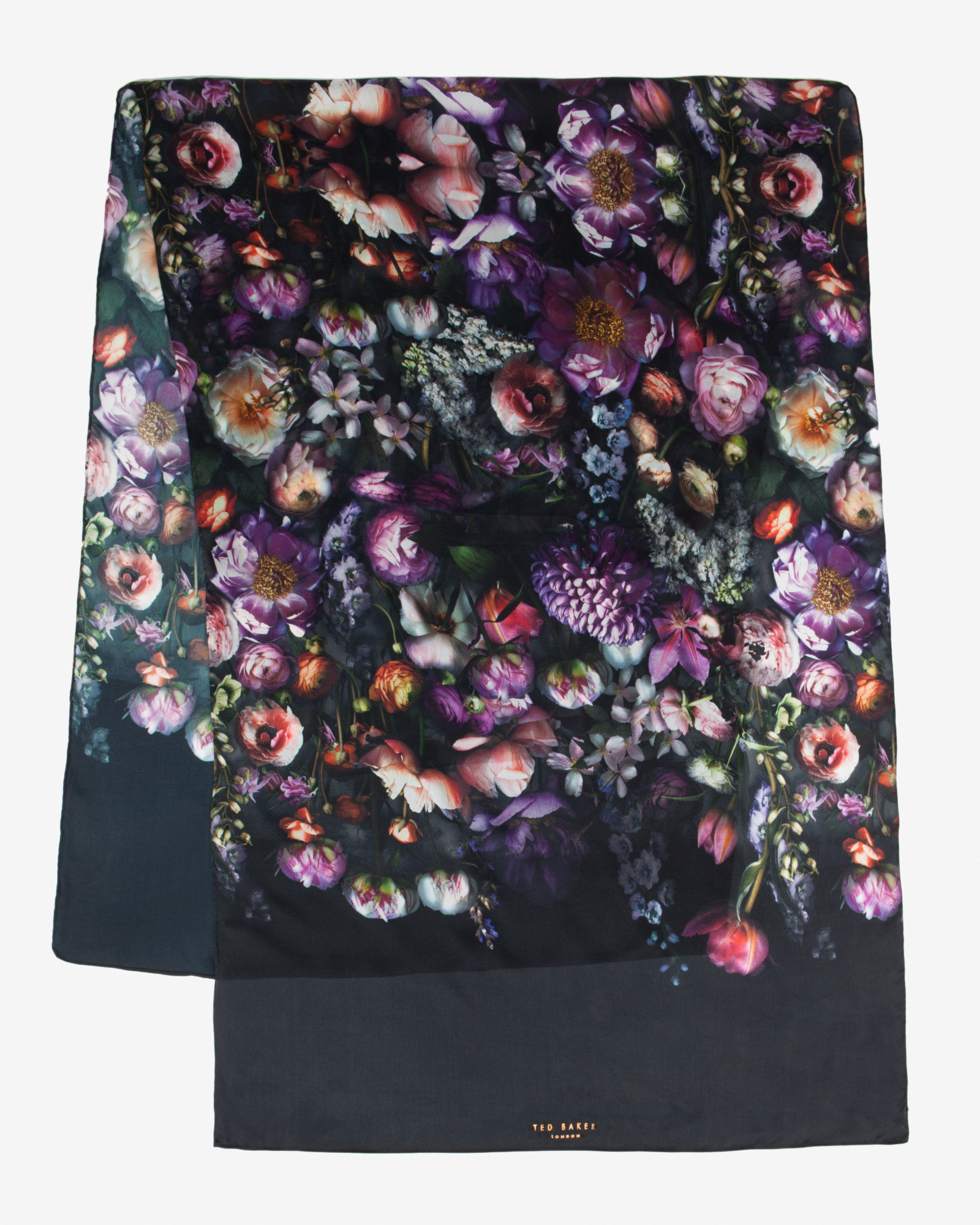 ff53fc40b868 Ted Baker Shadow Floral Long Silk Scarf in Gray - Lyst