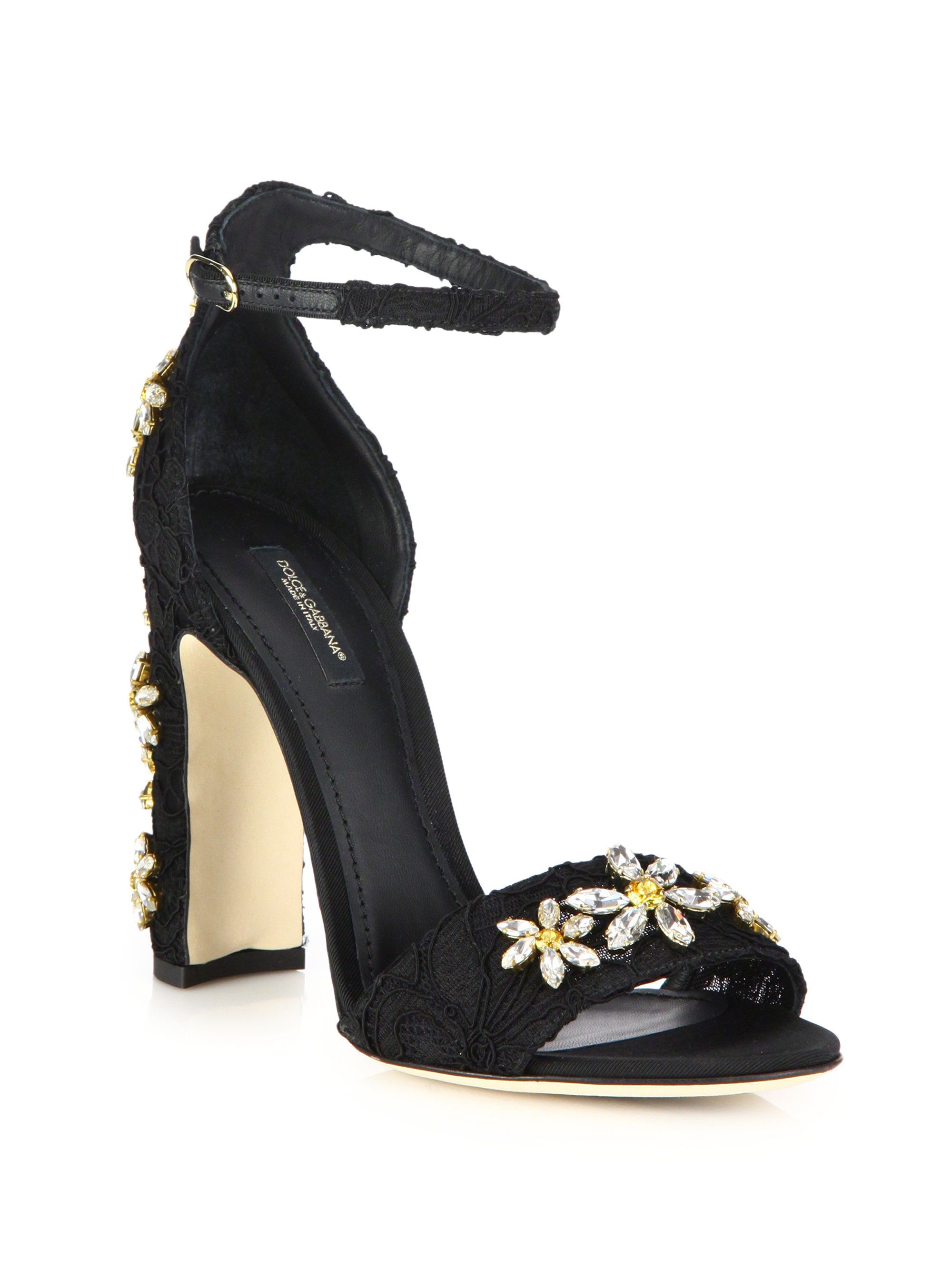 Lyst Dolce Amp Gabbana Daisy Embellished Lace Sandals In Black