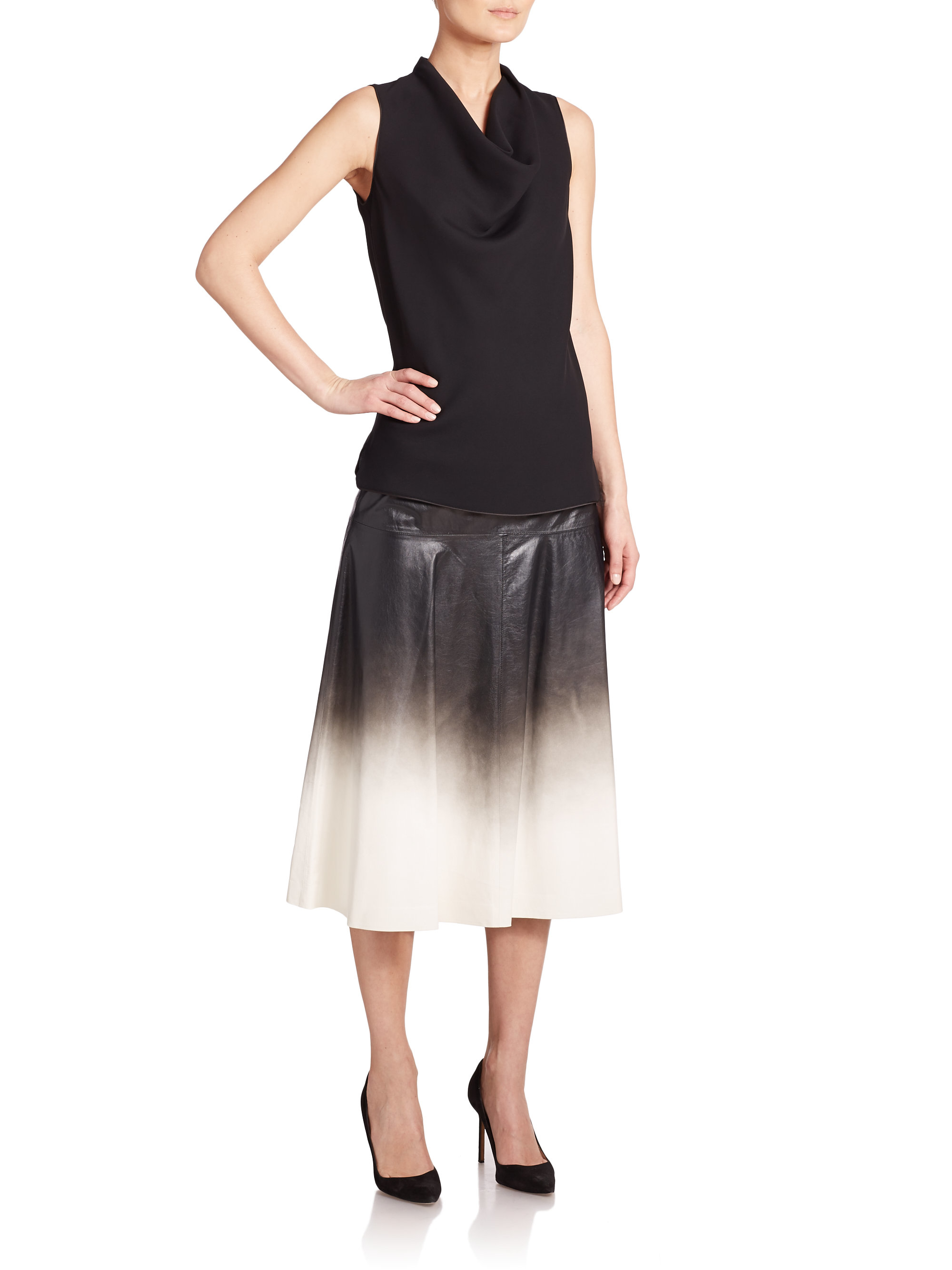 lafayette 148 new york jessa ombr 233 leather skirt in black