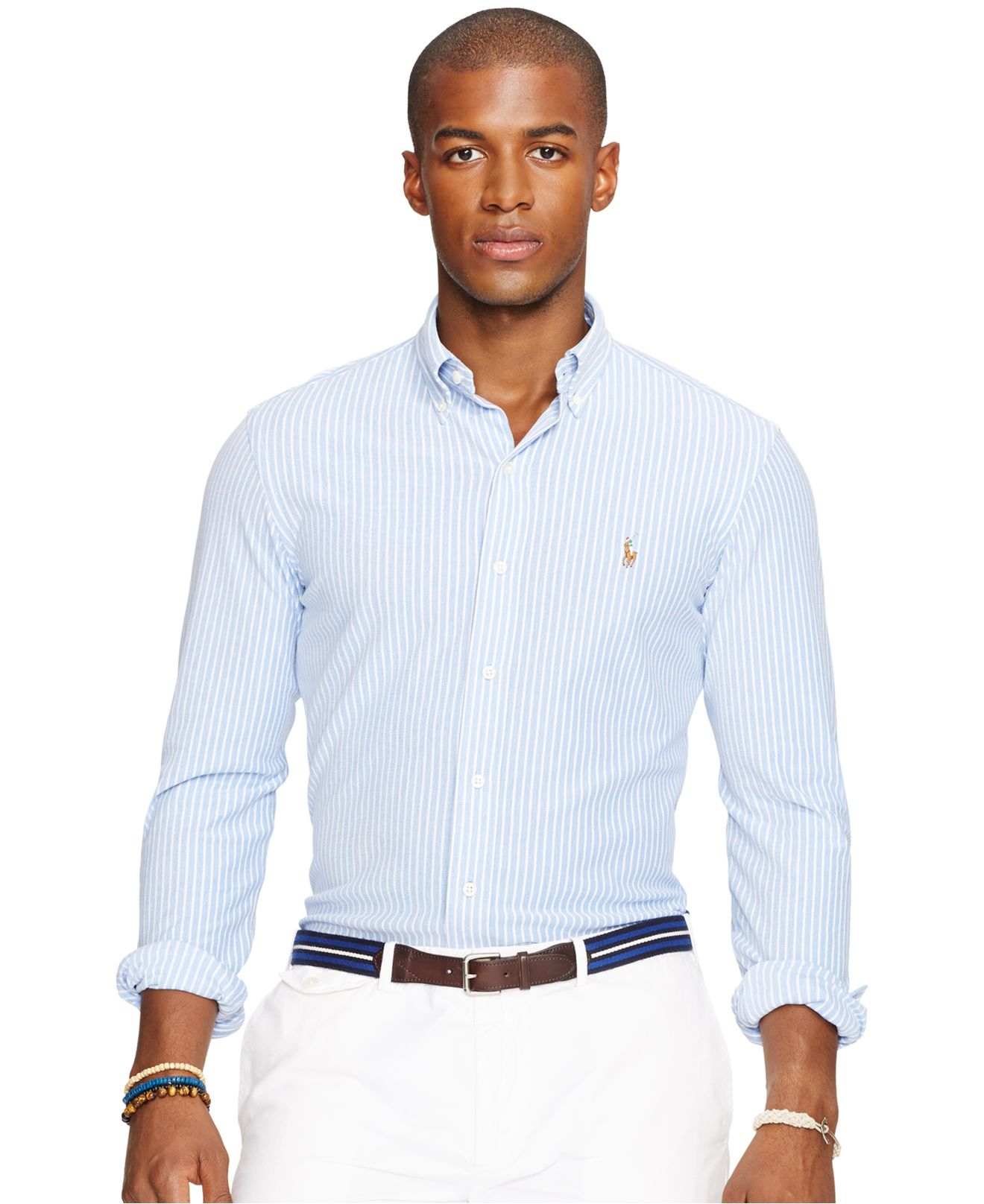 1e4d97115db ... coupon code for lyst polo ralph lauren striped featherweight mesh shirt  in blue 096f3 8f484