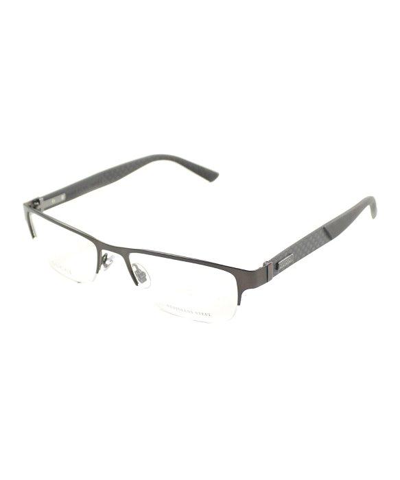 Lyst - Gucci Gg 2250 4vj Brown Carbon Semi-rimless Metal Eyeglasses ...