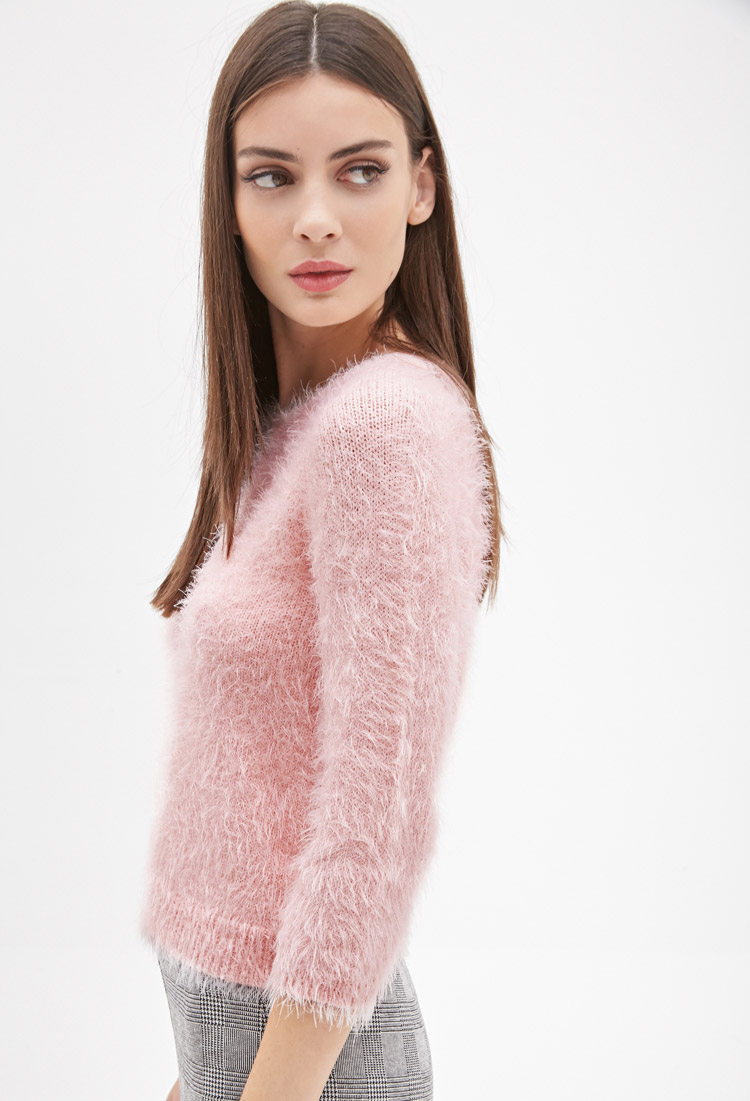 Forever 21 Fuzzy Knit Sweater In Pink Lyst