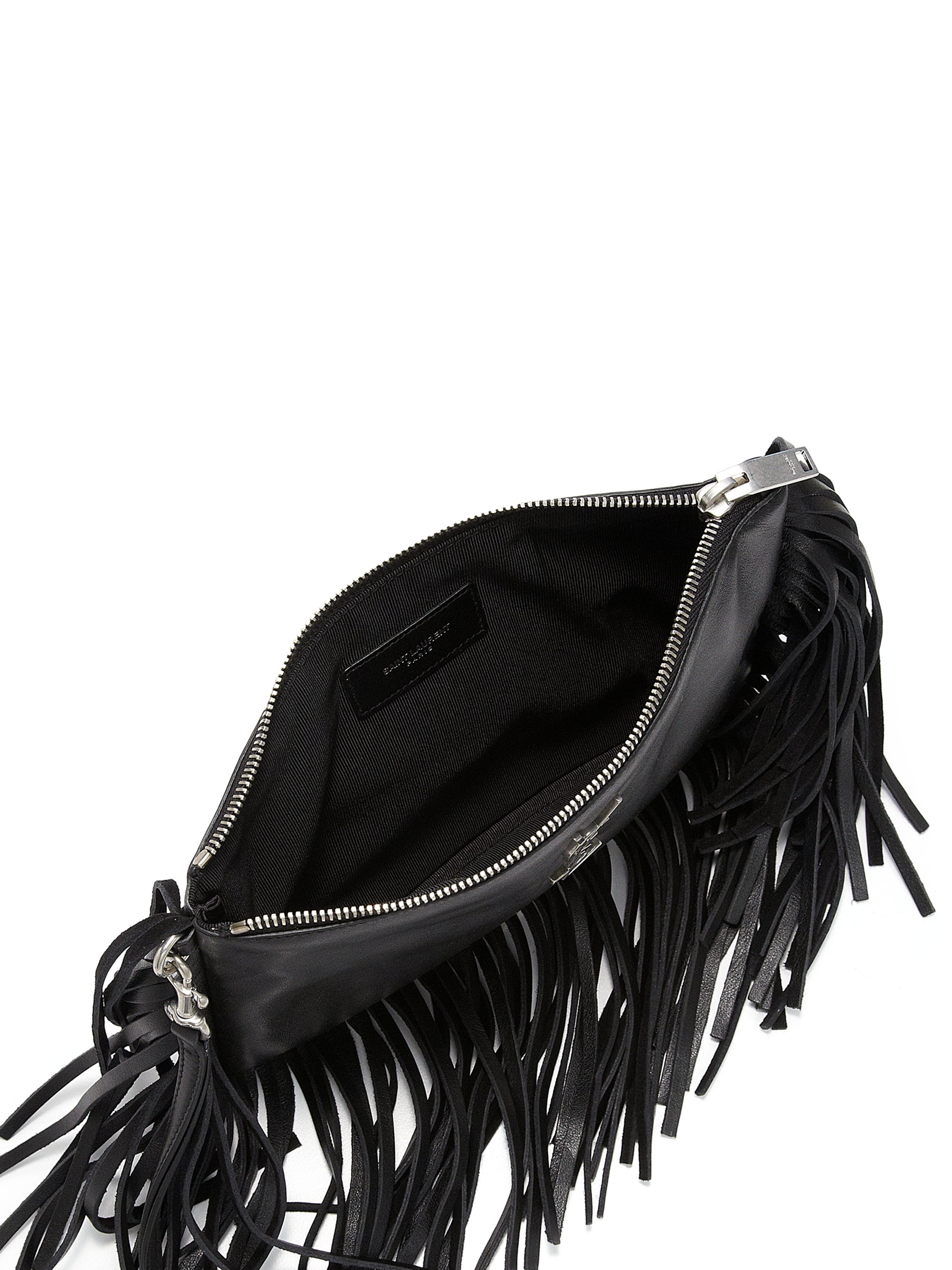 ysl classic baby duffle bag - monogram fringe beaded pouch, black