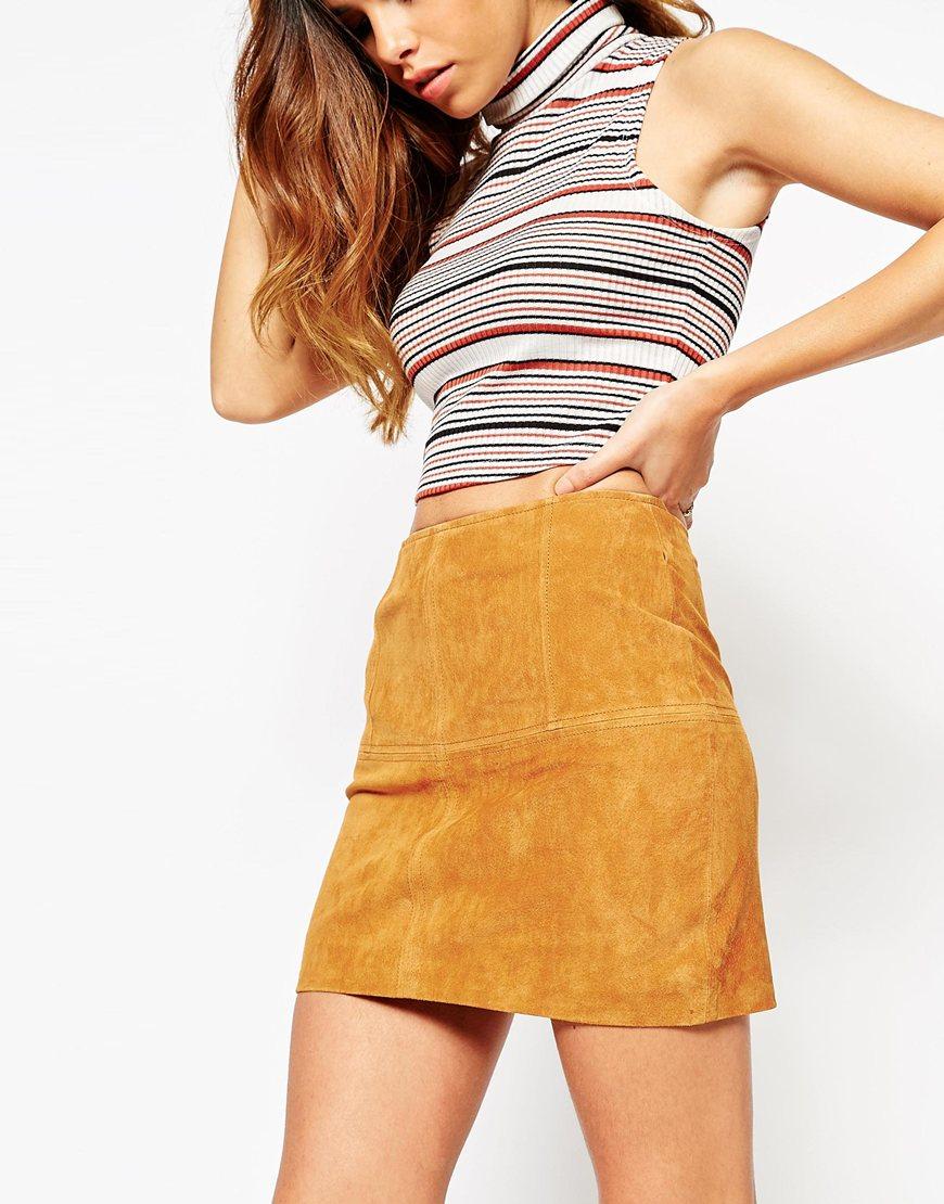 Asos Petite Mini Skirt In Suede in Brown | Lyst