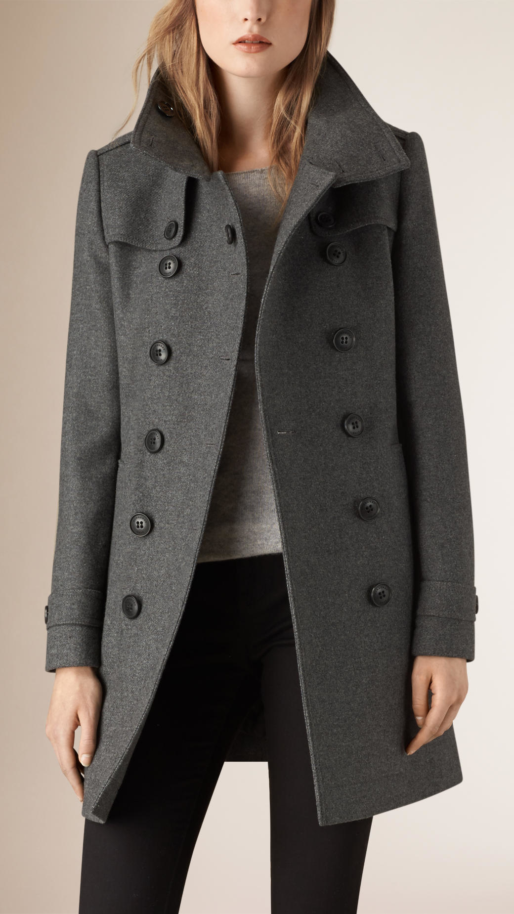 Burberry Wool and Cashmere-Blend Trench Coat in Gray | Lyst