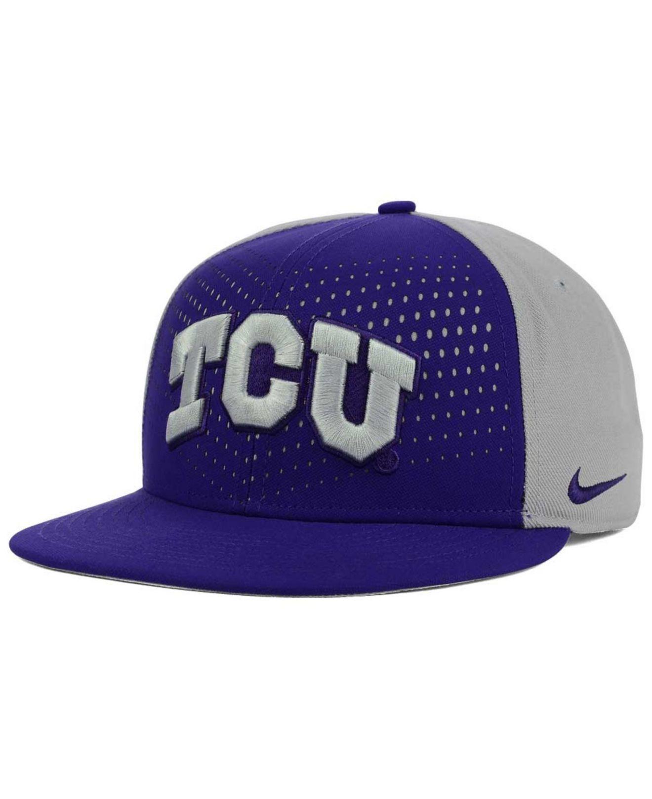 online retailer 42fdb 4cc4a ... adjustable hat gray purple ae53d 3bb26  best price lyst nike tcu horned  frogs true seasonal snapback cap in purple 9bde5 08528