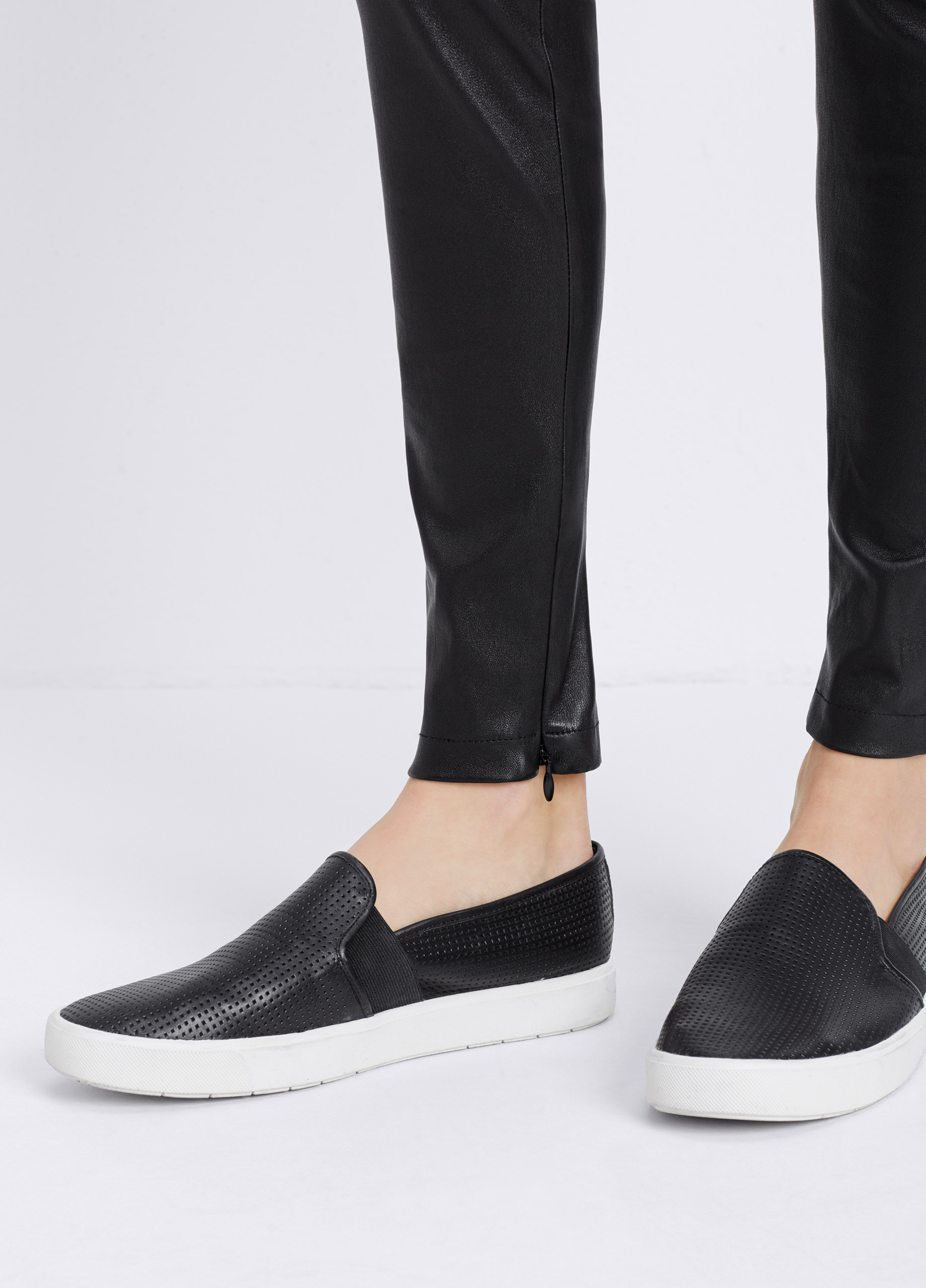 Lyst Vince Blair Perforated Leather Sneaker In Black