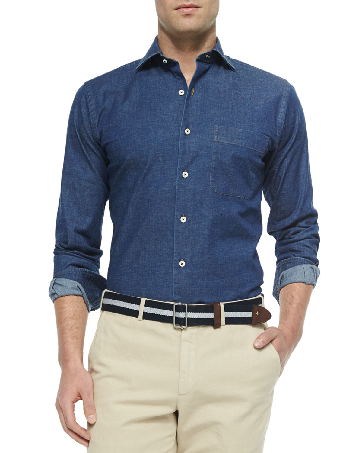 Peter millar washed button down denim shirt in blue for for Denim button down shirts