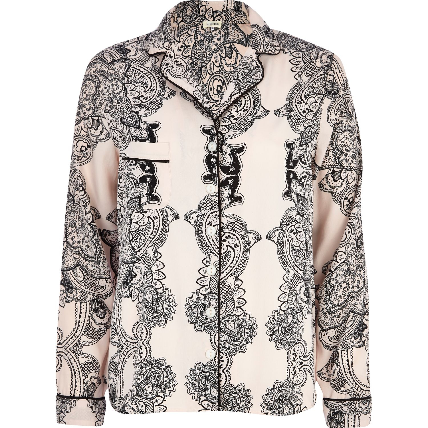River Island Pink Paisley Traditional Pyjama Top In Pink