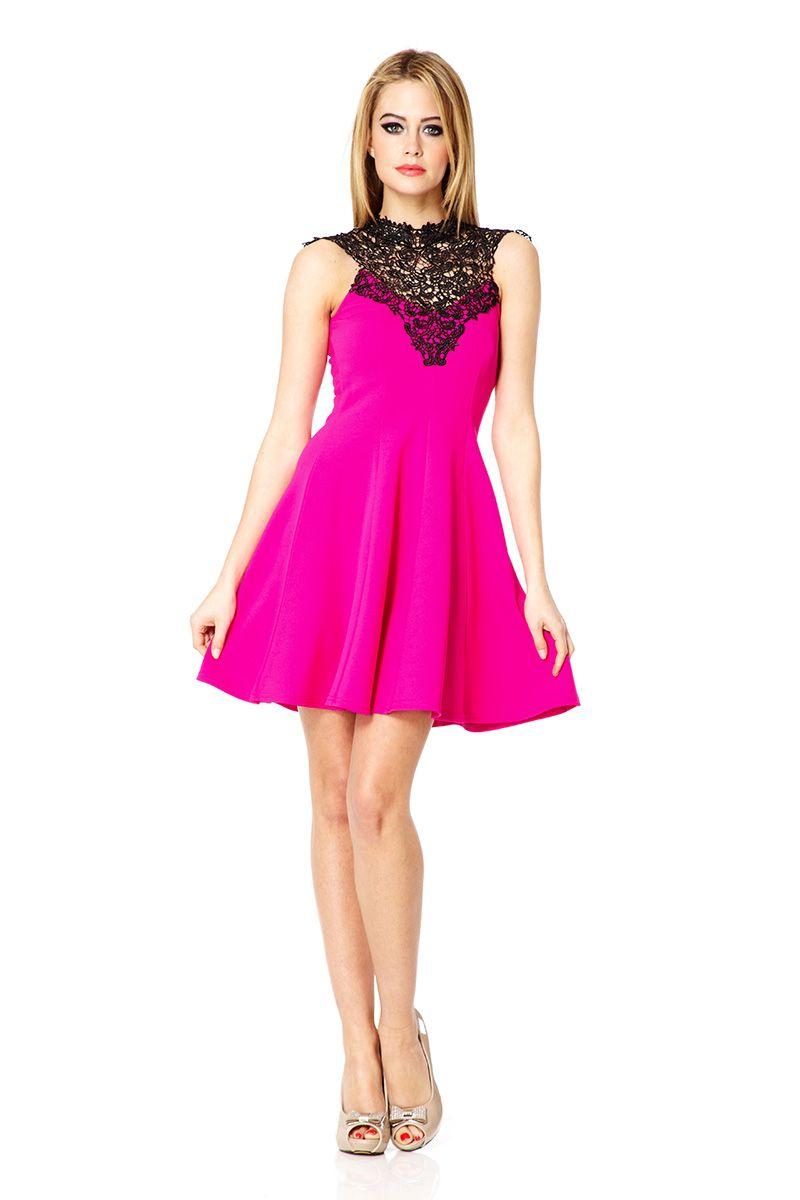 Quiz lace trim skater dress in pink lyst Fashion designer style quiz