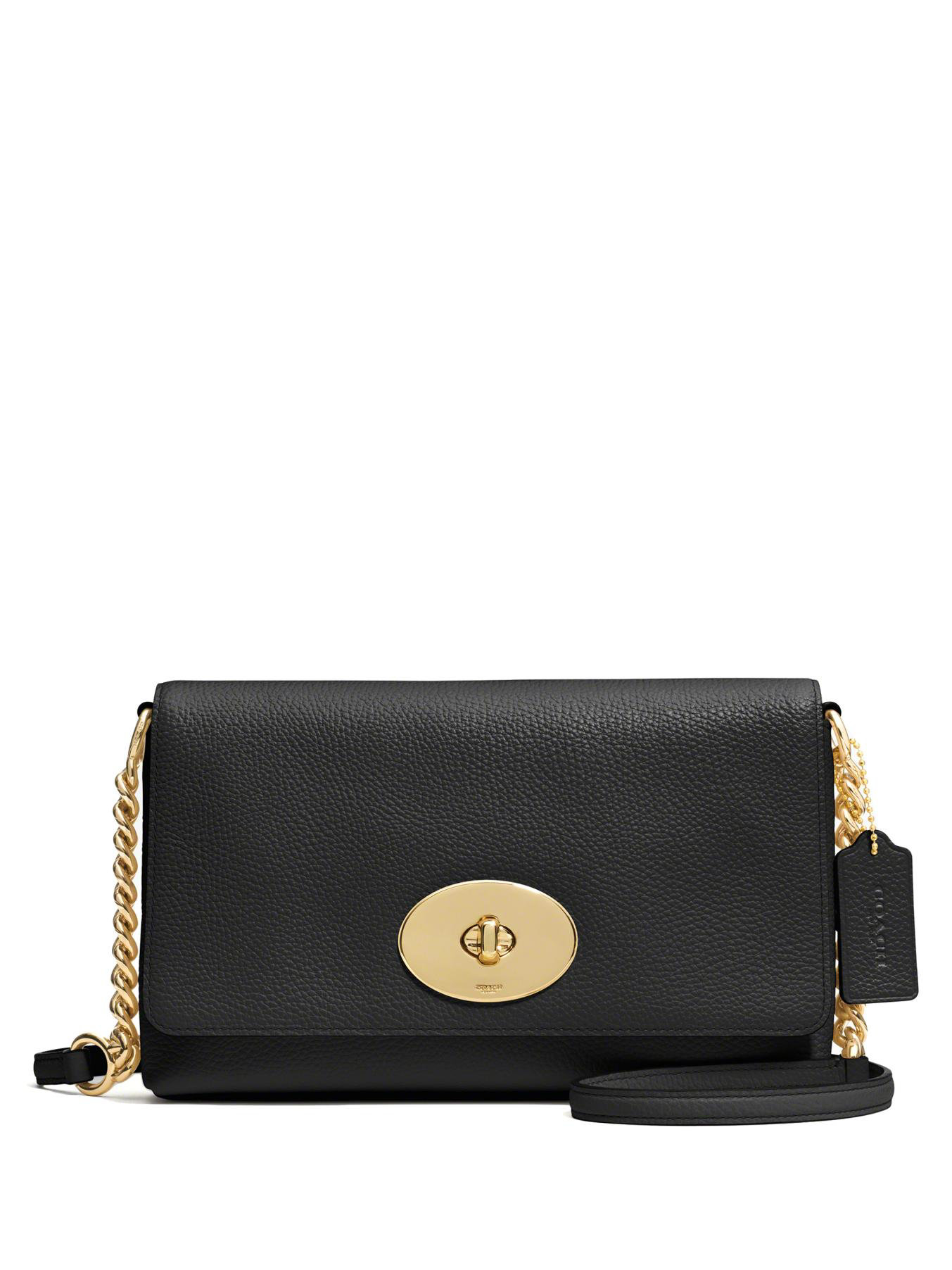 coach crosstown pebbled leather crossbody bag in black