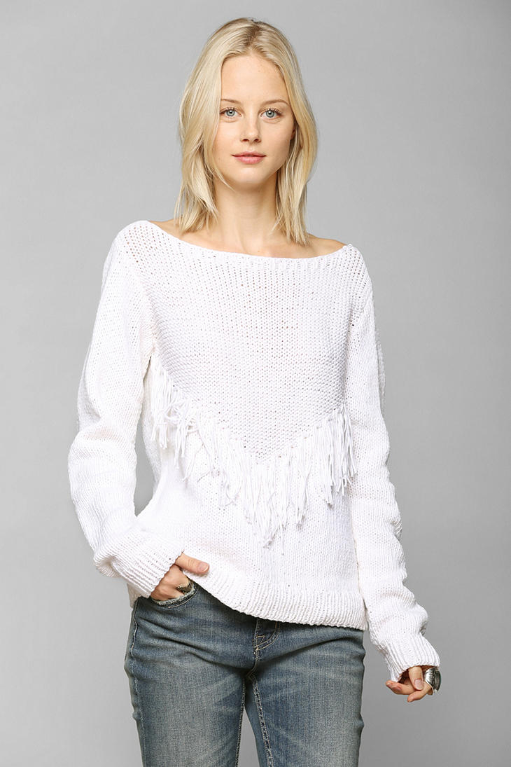 Gallery - Urban Outfitters Ophelia Moon Bianca Fringe Sweater In White Lyst