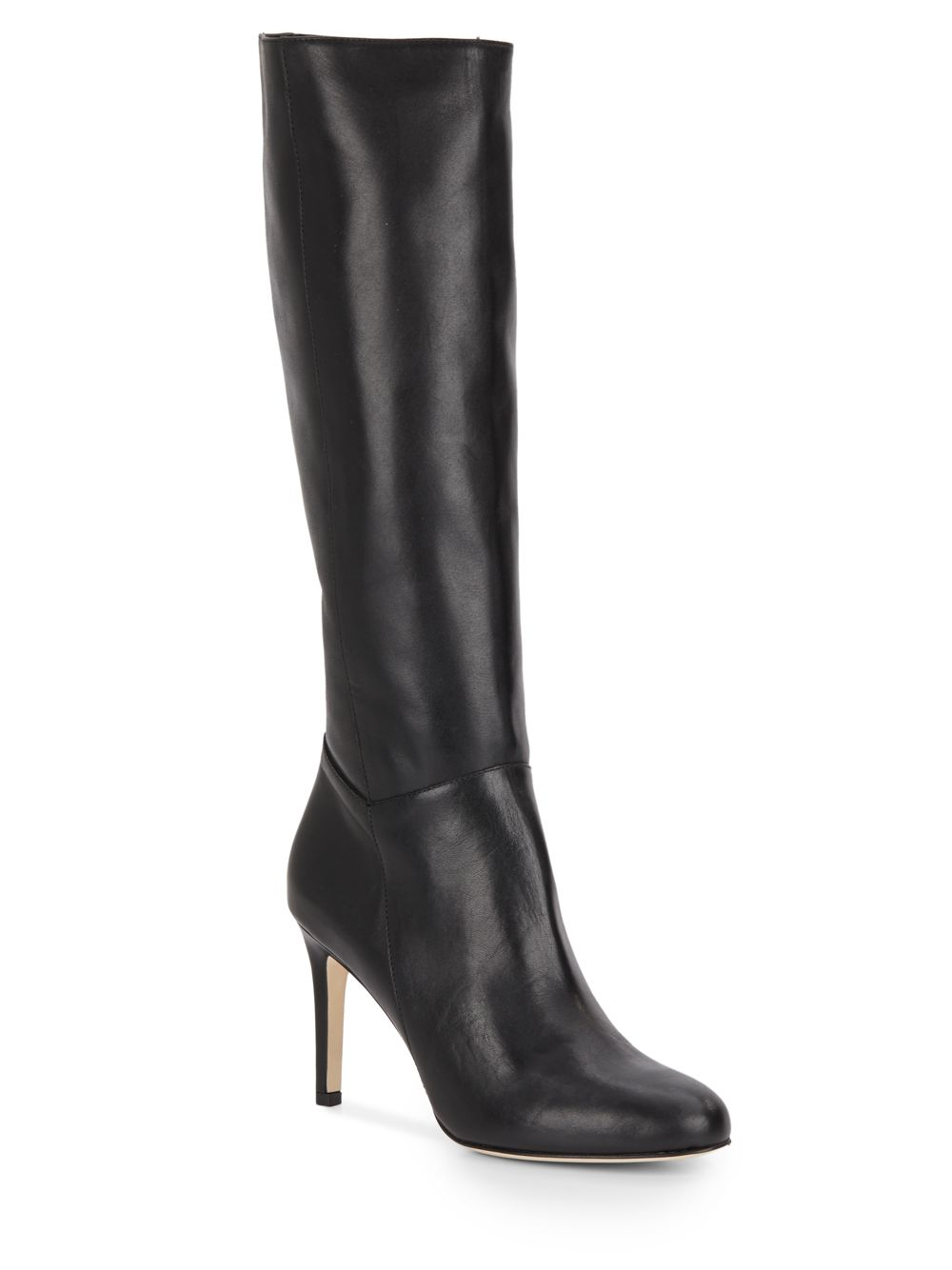 saks fifth avenue side zip leather knee high boots in