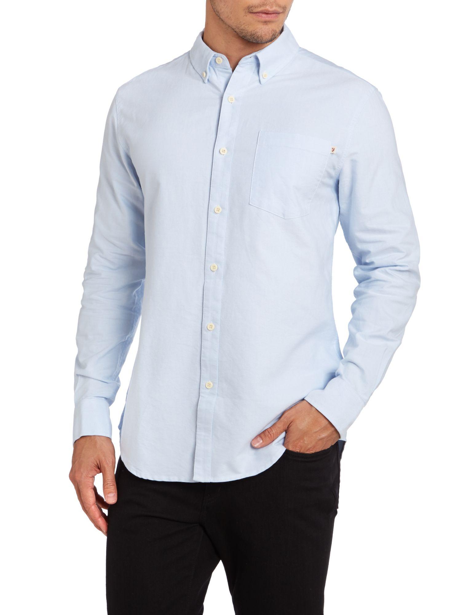 Farah one pocket oxford shirt in blue for men lyst for Mens blue oxford shirt