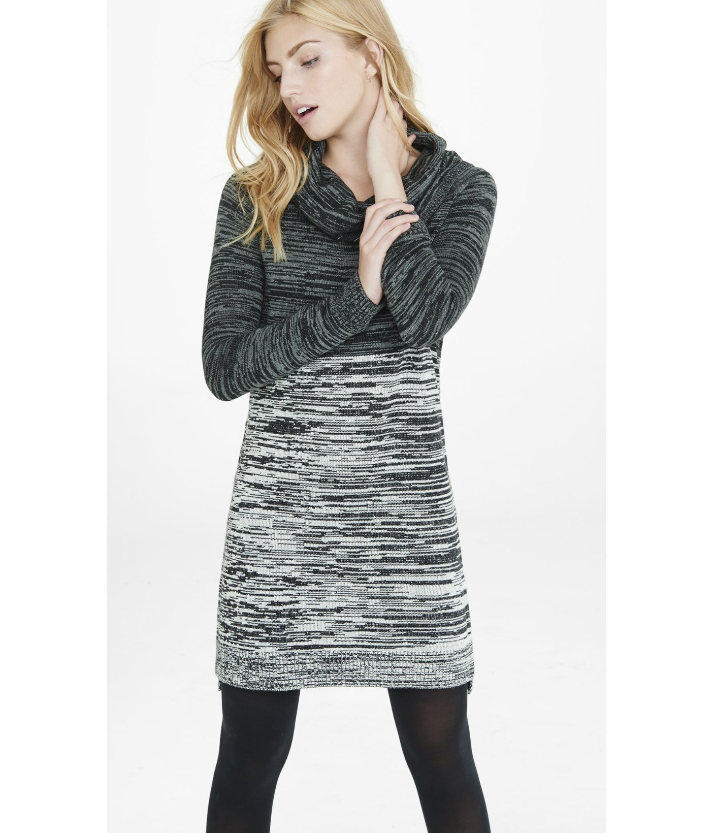 Express Gray Cowl Neck Marl Color Block Sweater Dress Lyst