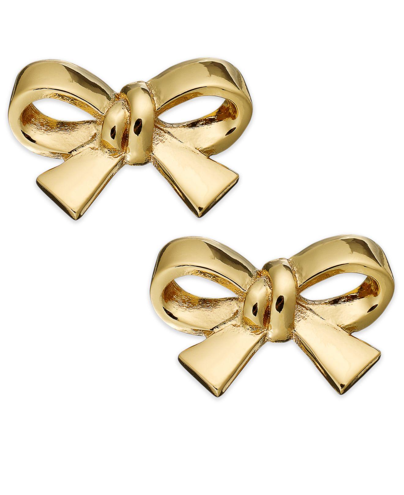 Lyst Kate Spade Gold Tone Bow Clip On Earrings In Metallic