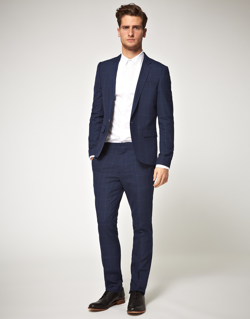 Asos Slim Fit Check Suit Jacket in Blue in Blue for Men   Lyst