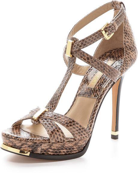 Michael Kors Leandra Snakeskin Sandals Toffee In Brown