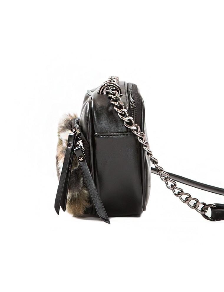 8dc4f9154e46 Lyst - Pixie Market Camouflage Fur Shoulder Bag in Black