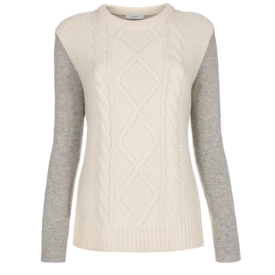 Paul smith Women's Grey And Cream Cable-knit Front Sweater in Gray ...