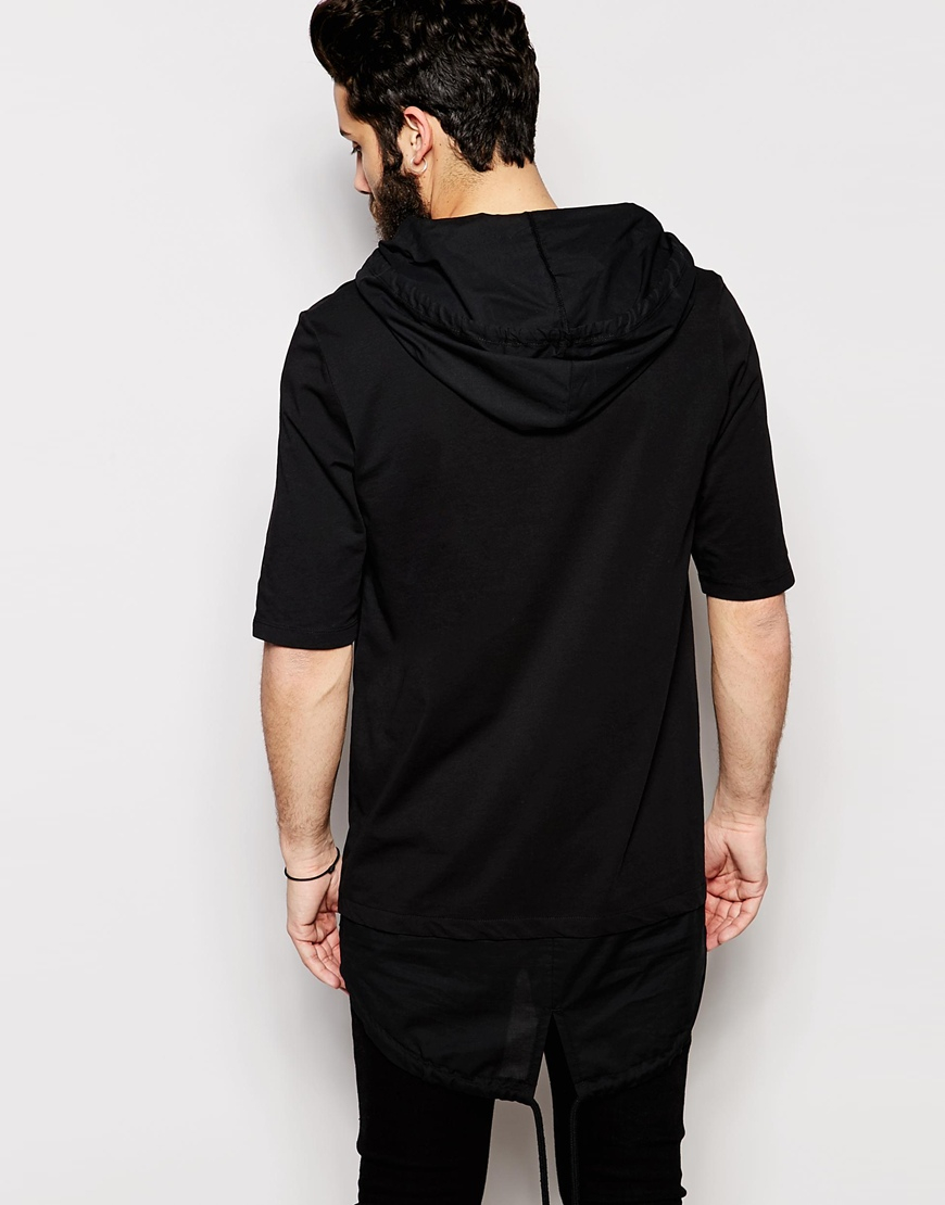 Lyst Asos Super Longline Hooded T Shirt With Fishtail In
